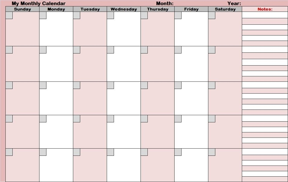 Get Full Size Blank Printable Calendar