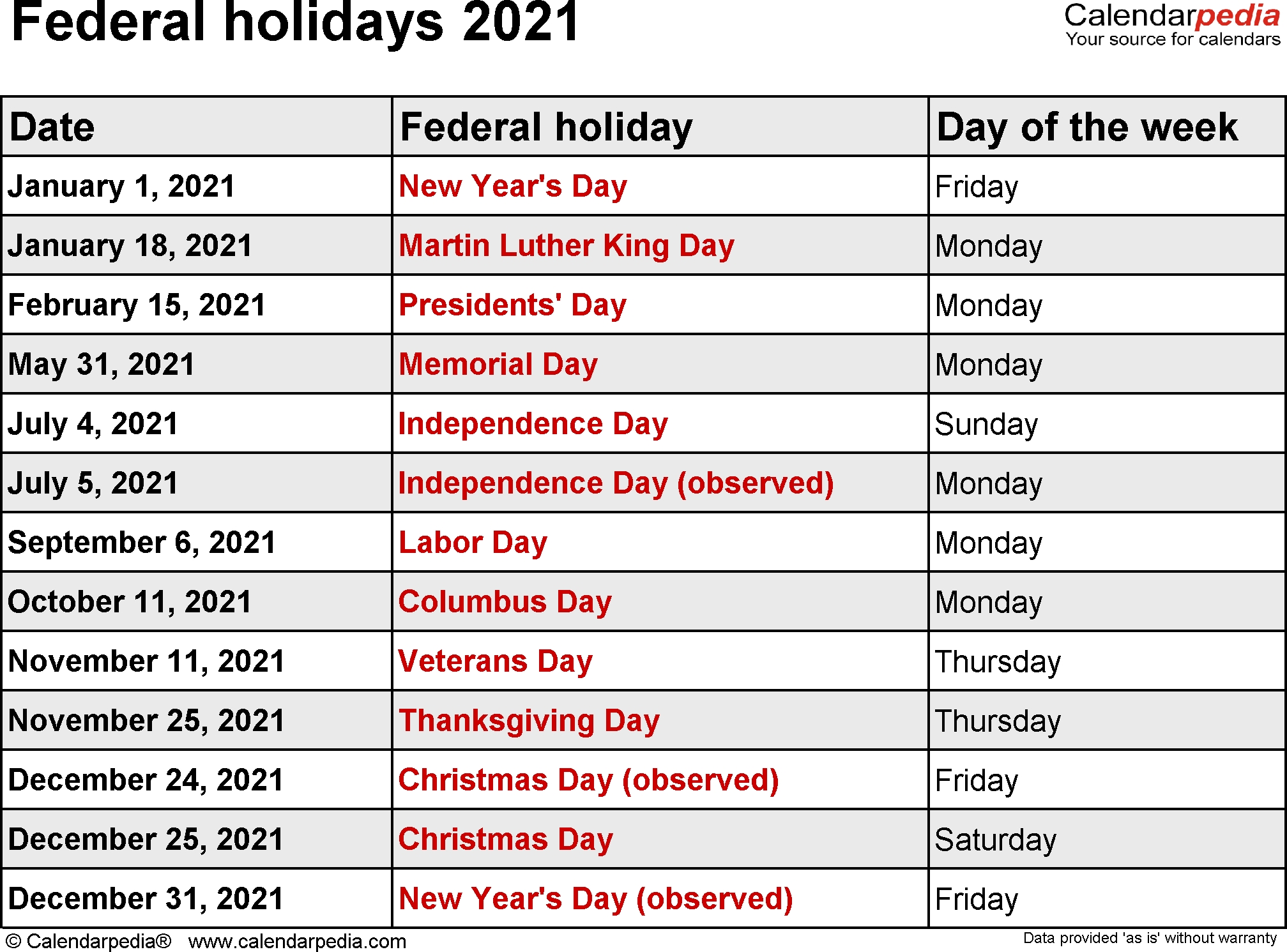 Get Government Holidays 2021