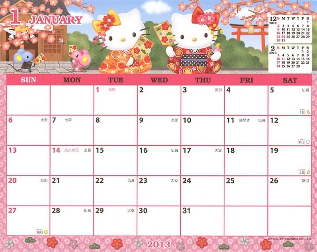 Get Hello Kitty Printable Calendar 2021