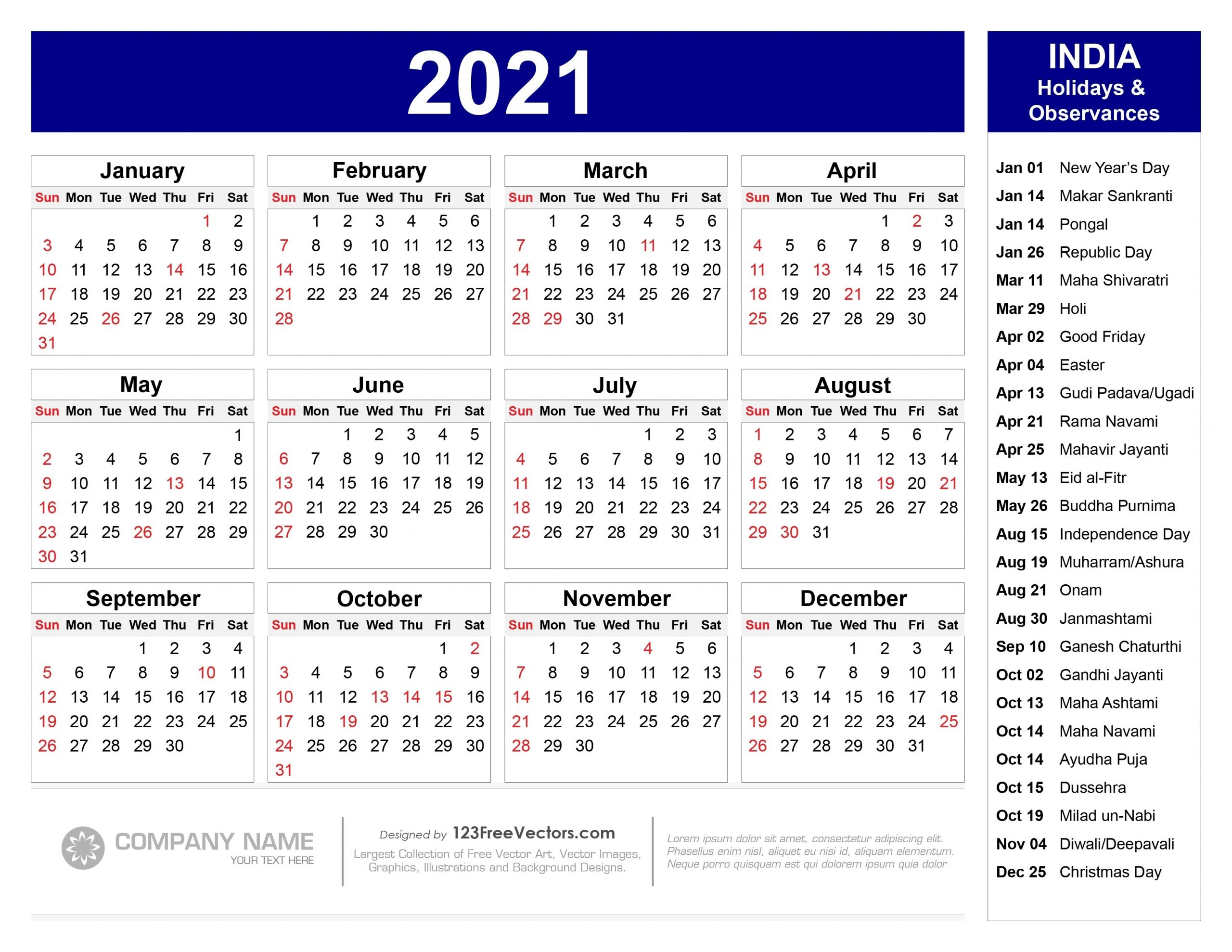 Get Hindu Calendar With Holiday 2021