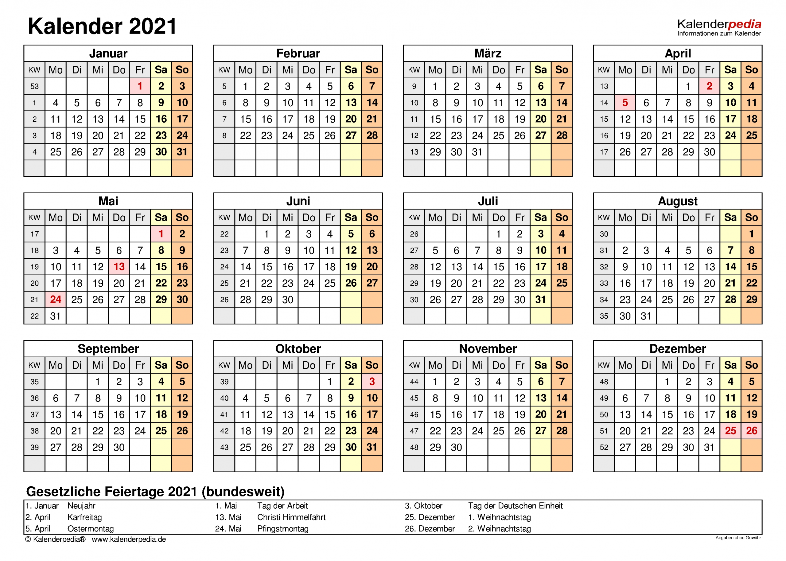Get Jahreskalender 2021 Gross