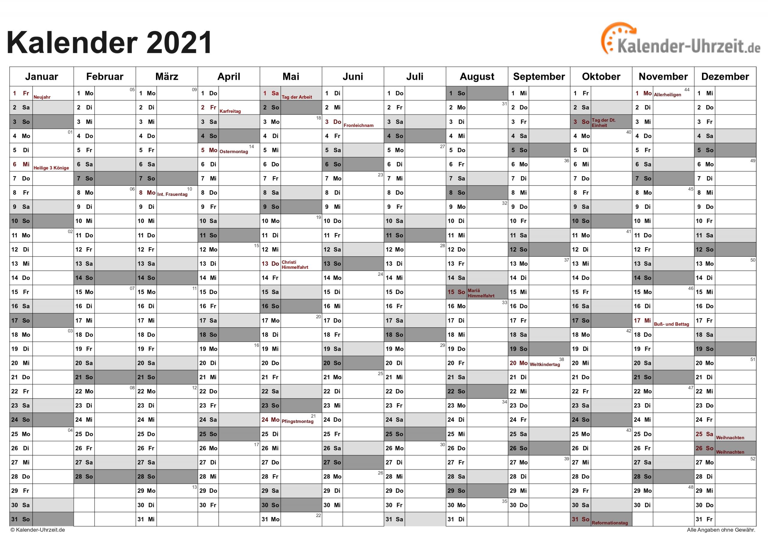 Get Jahreskalender 2021 Zum Ausdrucken Kostenlos