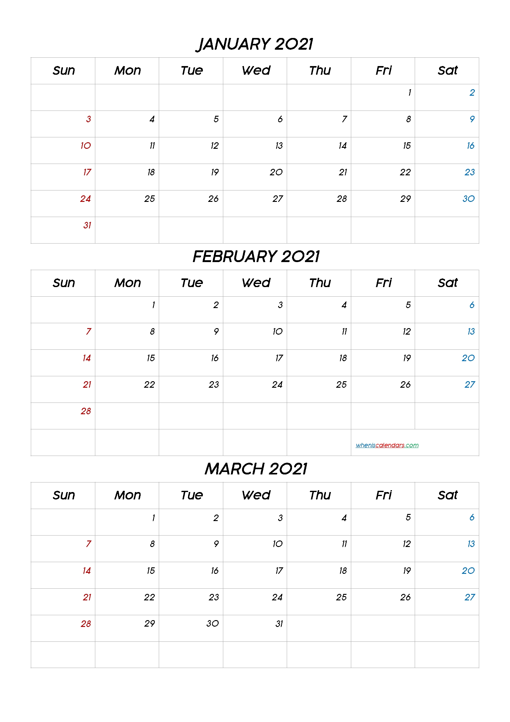 Get Jan Feb Mar 2021 Calendar
