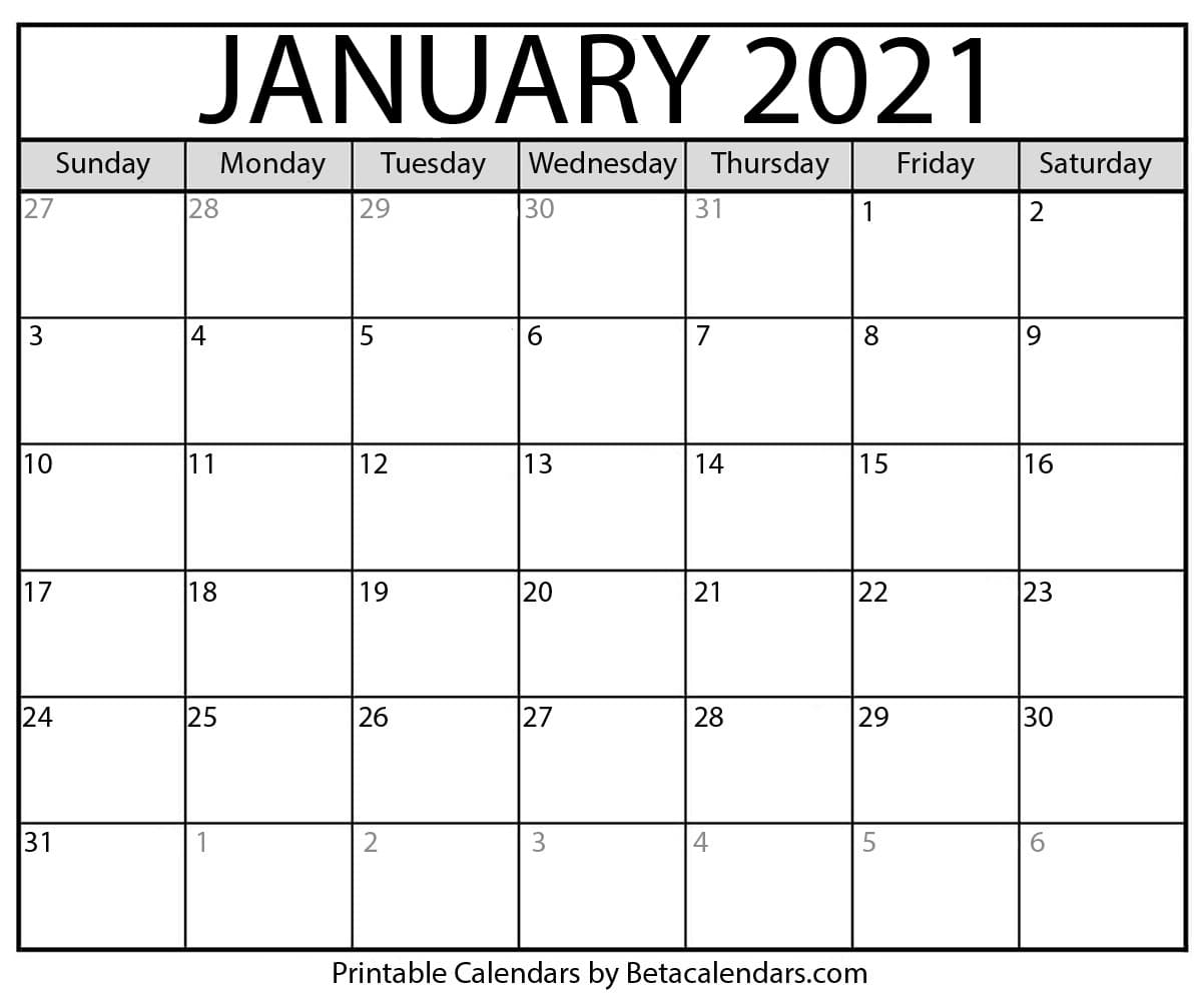 Get January 2021 Blank Calendar Motivated