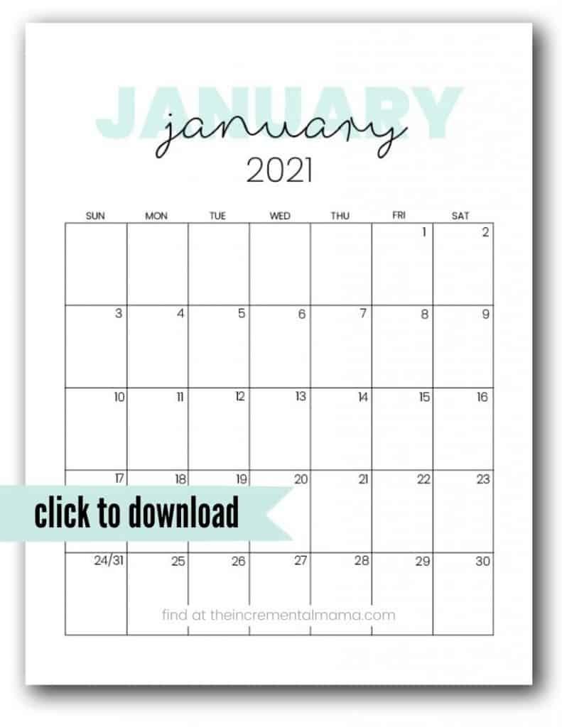 Get January 2021 Calendar Printable Org