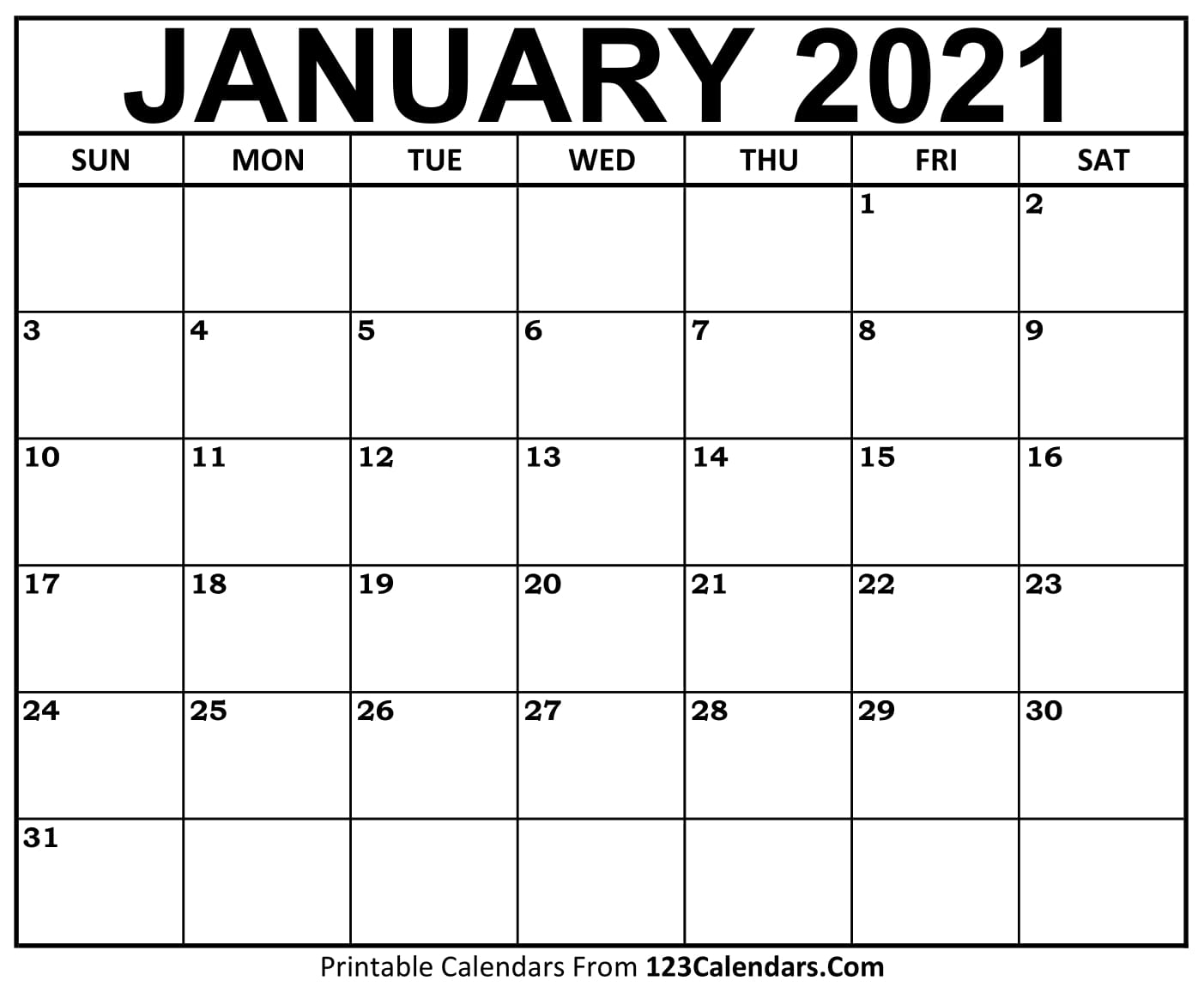 Get January 2021 Calendar