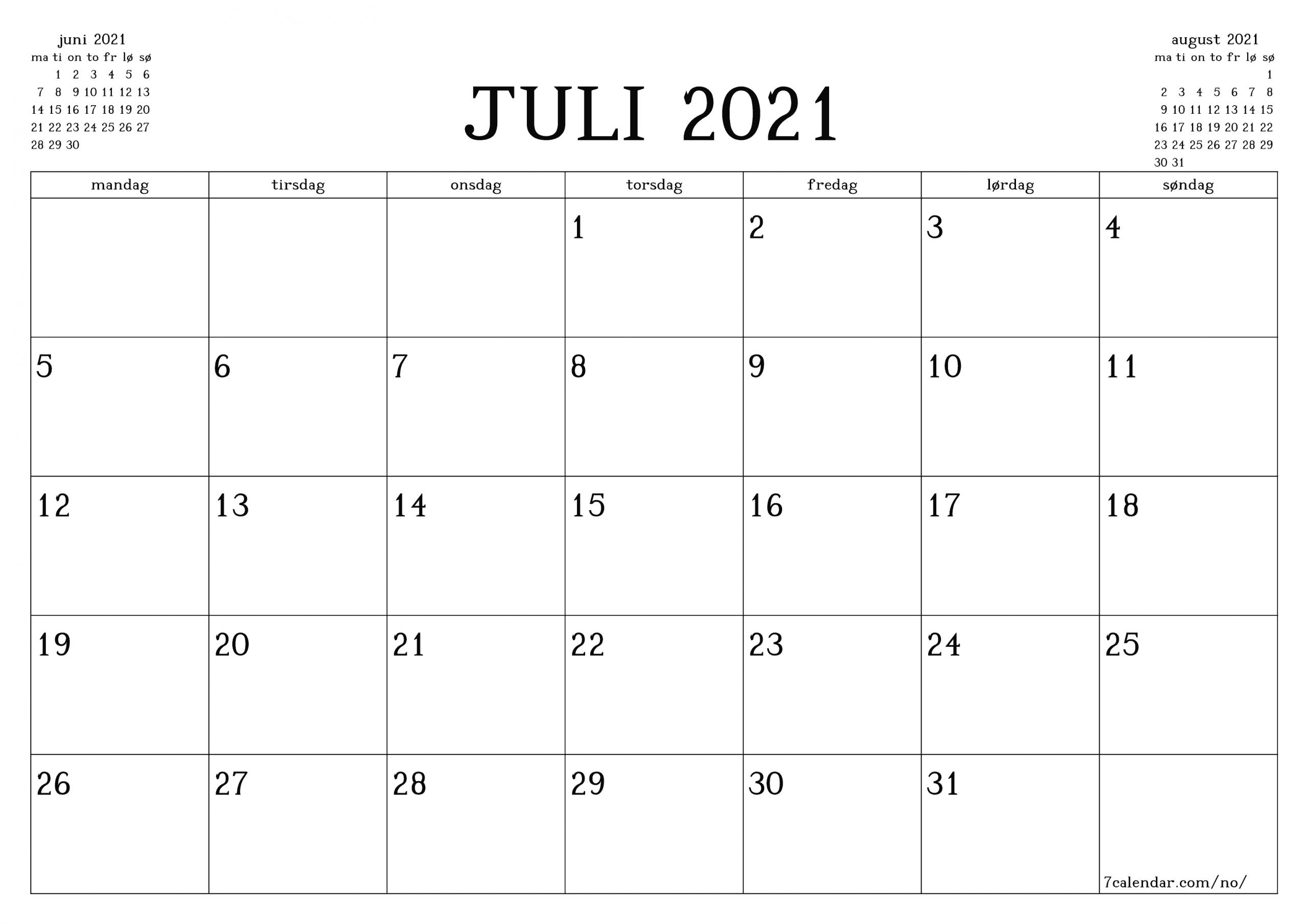Get Juli 2021 Kalender