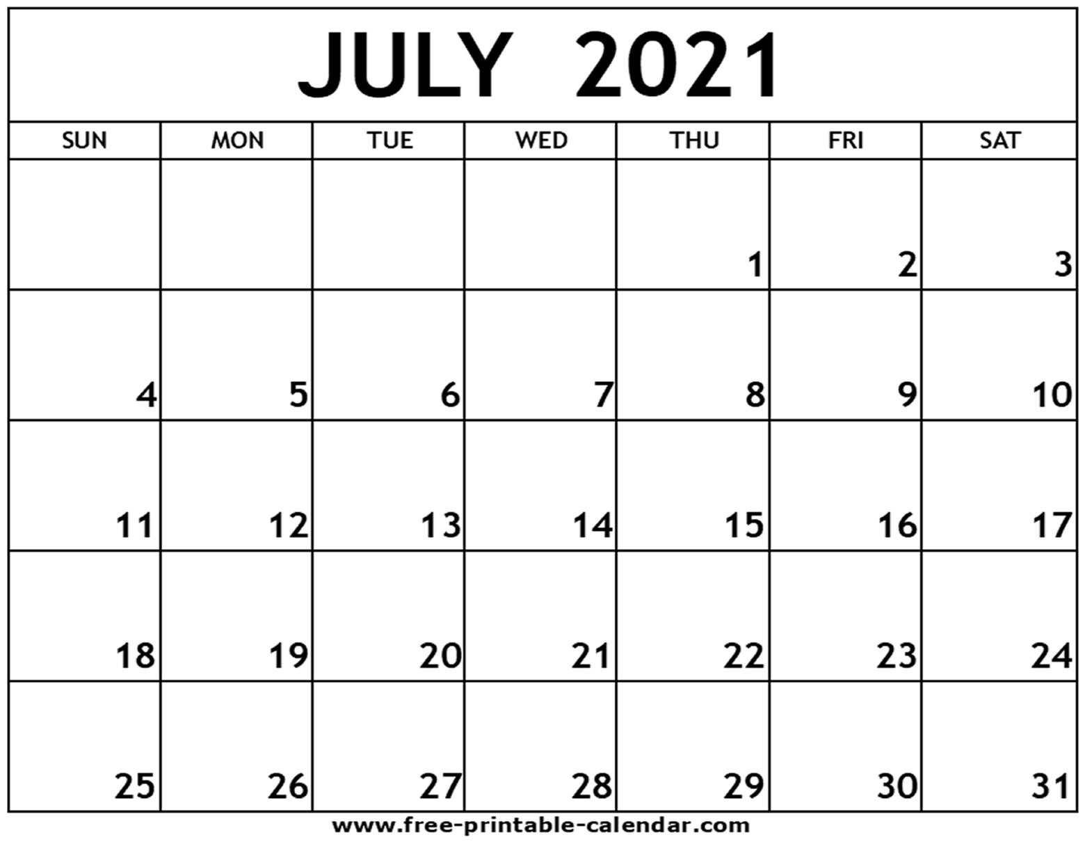 Get July 2021 Calendar Template