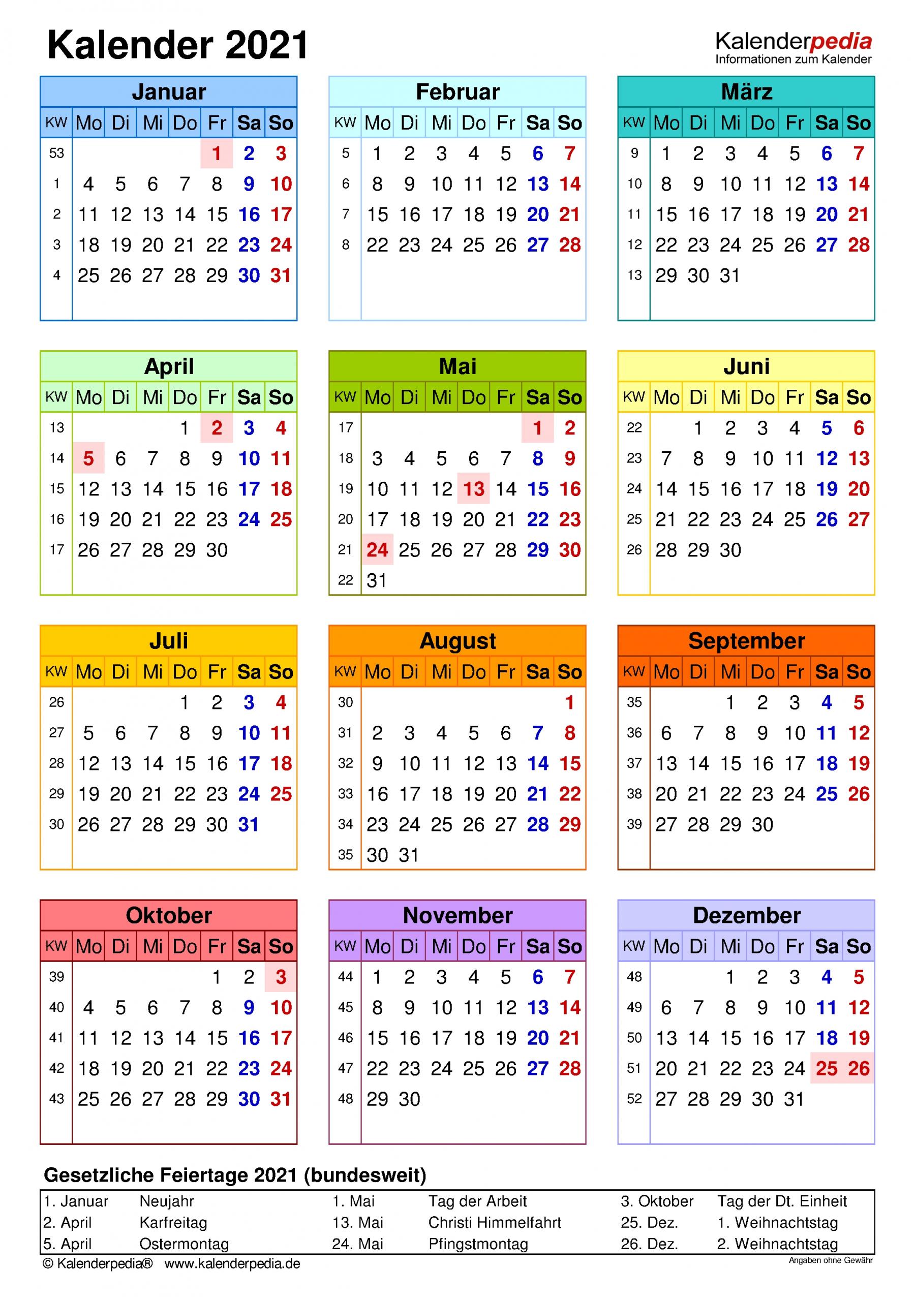 Get Kalender 2021 Deutsch Zum Ausdrucken