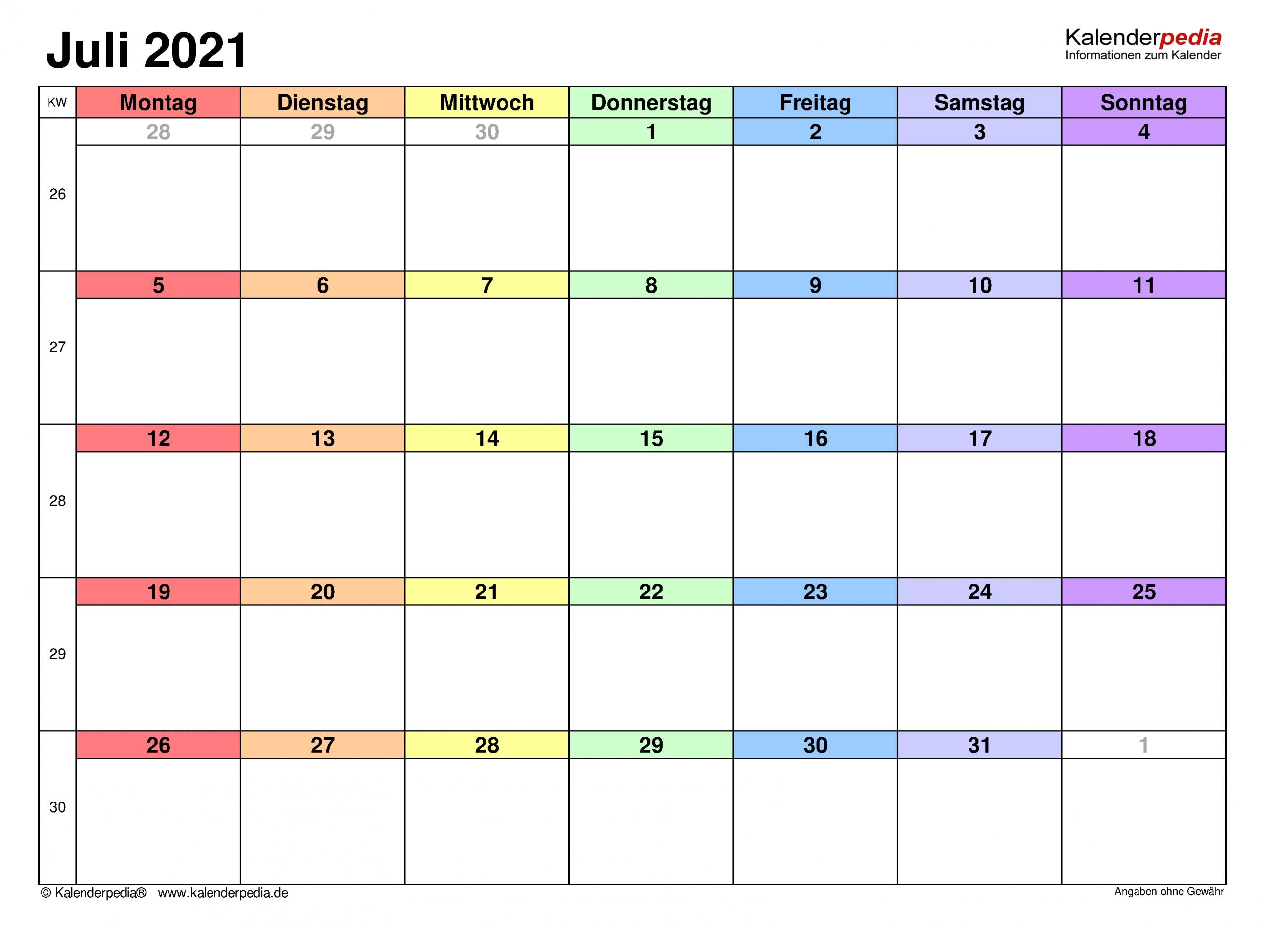 Get Kalender 2021 Juli Zum Ausdrucken Kostenlos