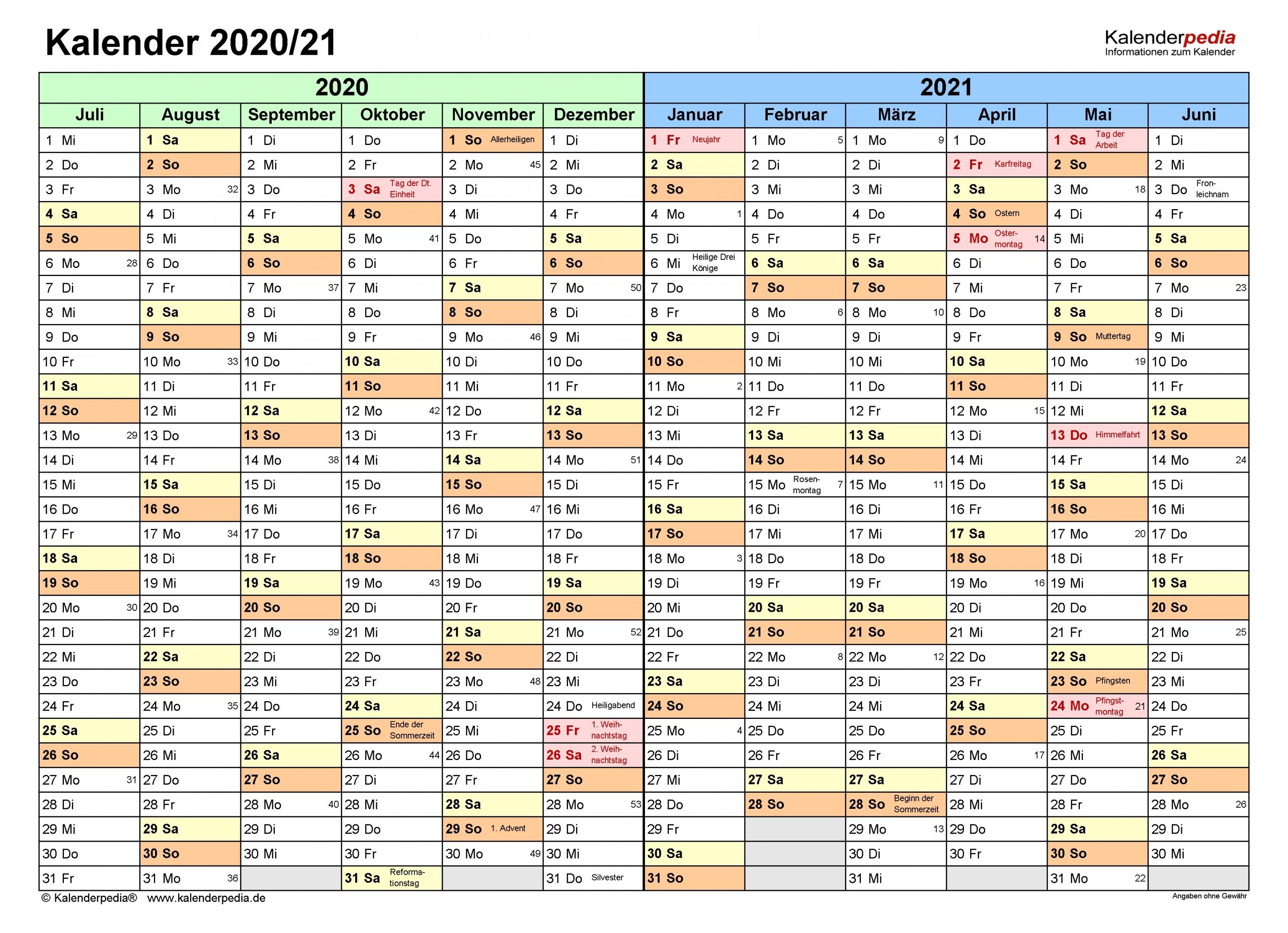Get Kalender 2021 Zum Ausdrucken Kostenlos Ab Juli