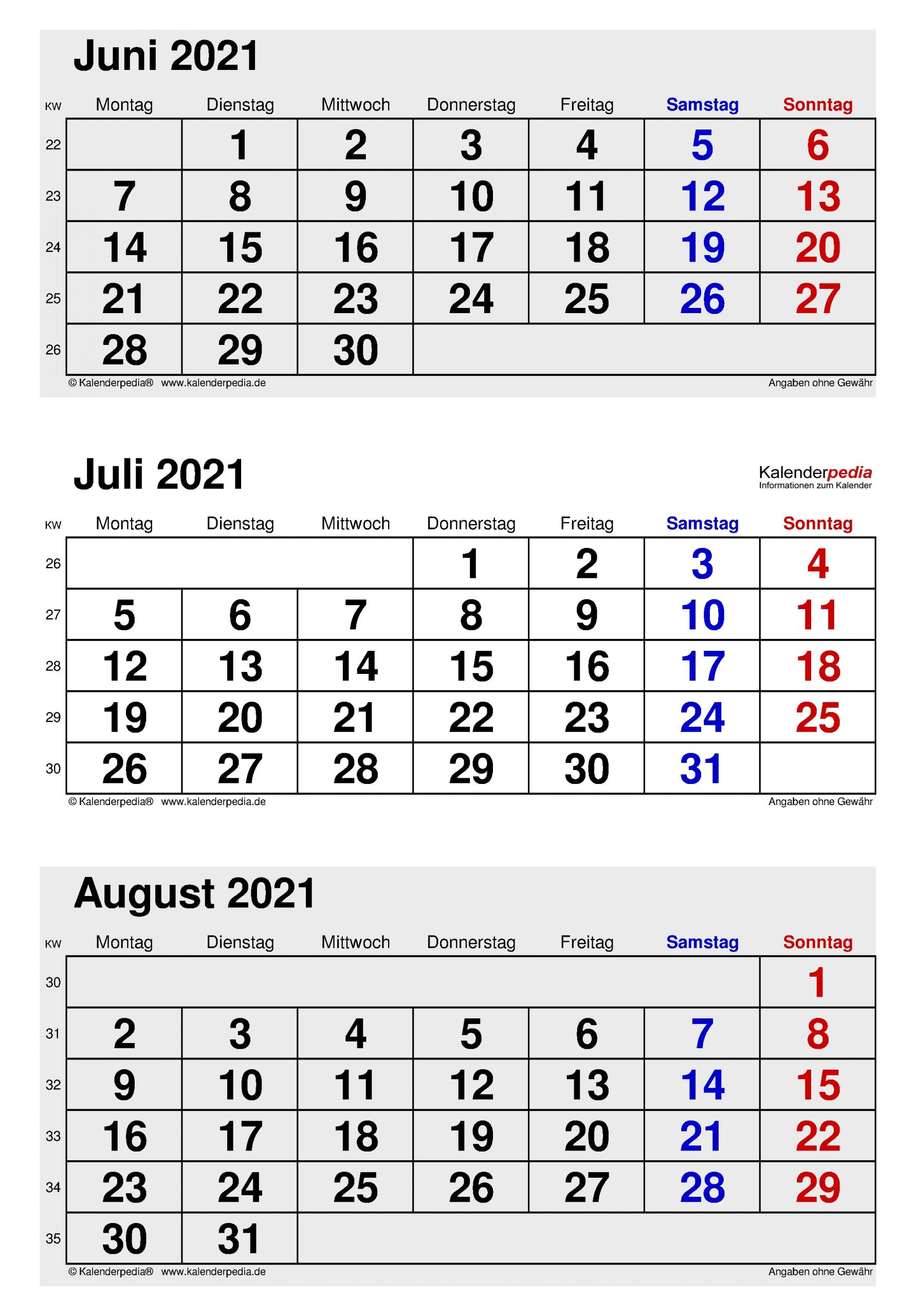 Get Kalender Juni Juli August 2021