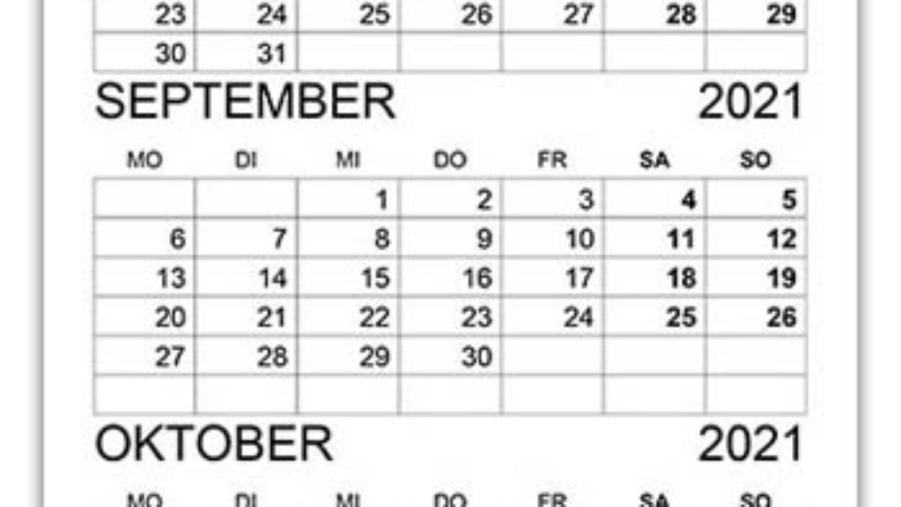 Get Kalender September En Oktober 2021