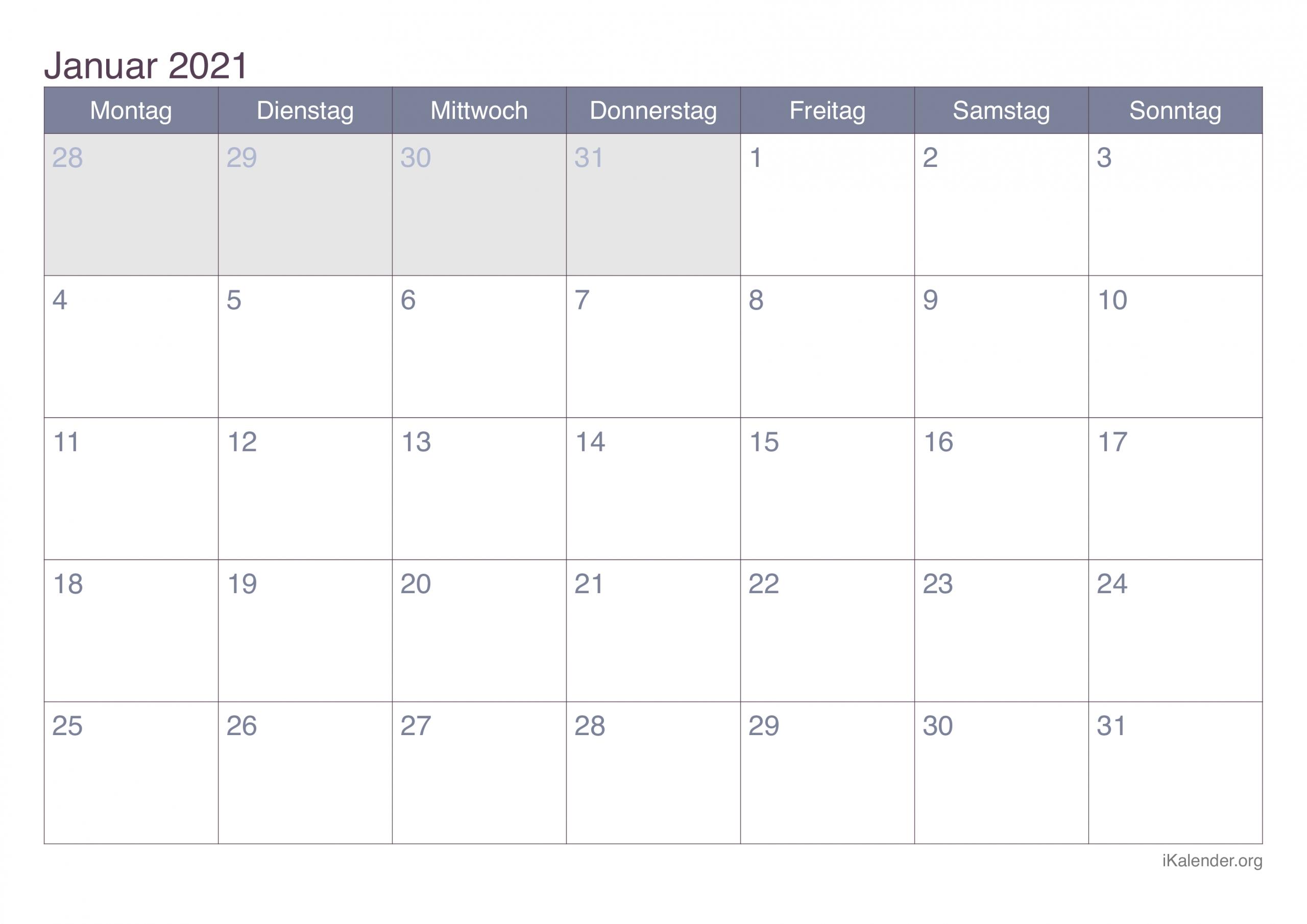Get Kalenderblatt Monat 2021