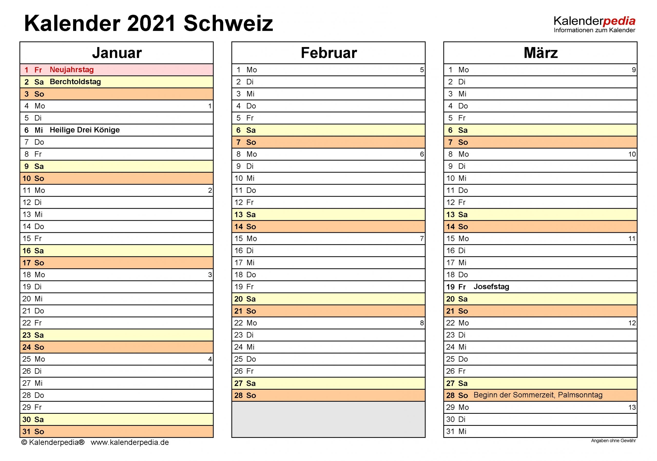 Get Kalenderpedia 2021 Schweiz Pro Monat