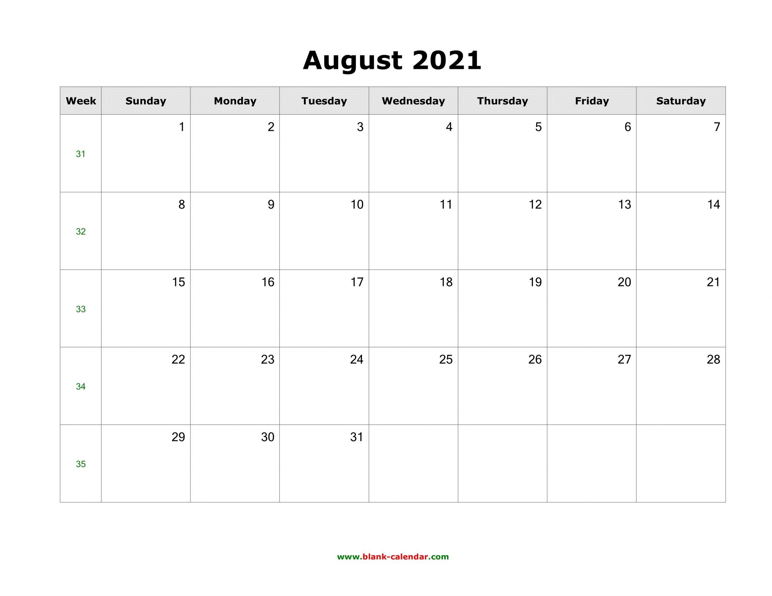 Get Landscape Printable Month Of August 2021