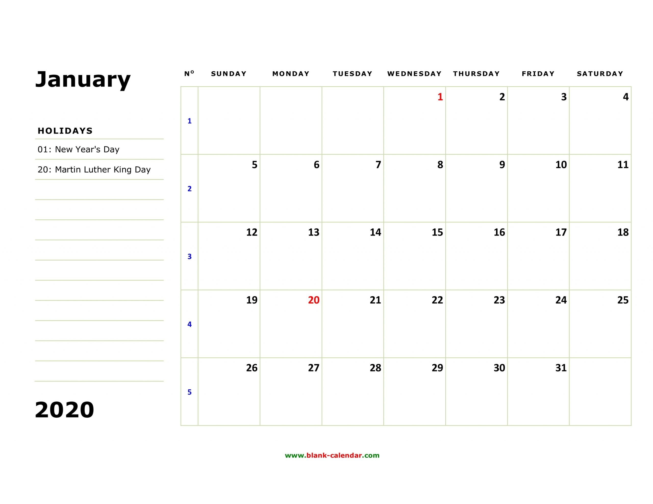 Get Large Box Monthly Calendar Free Print