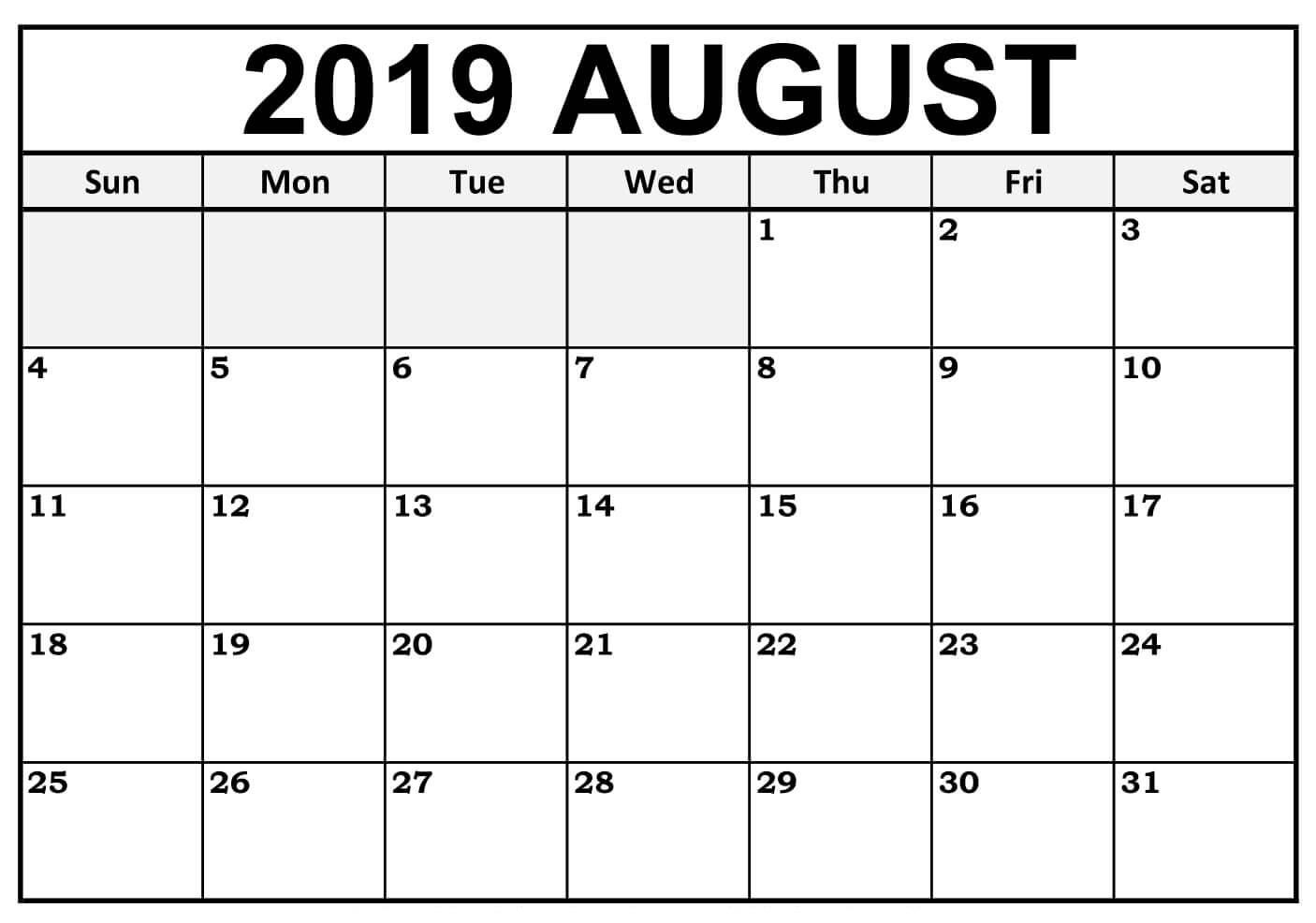 Get Mini Calendar August