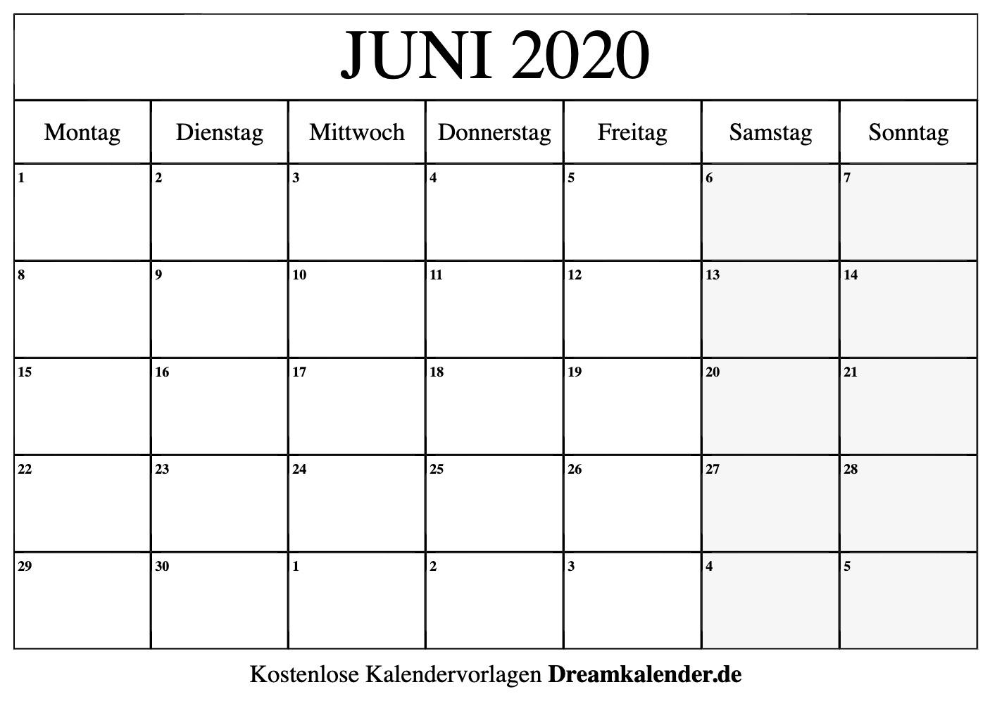 Get Monatsplan Juni 2021 Vorlage