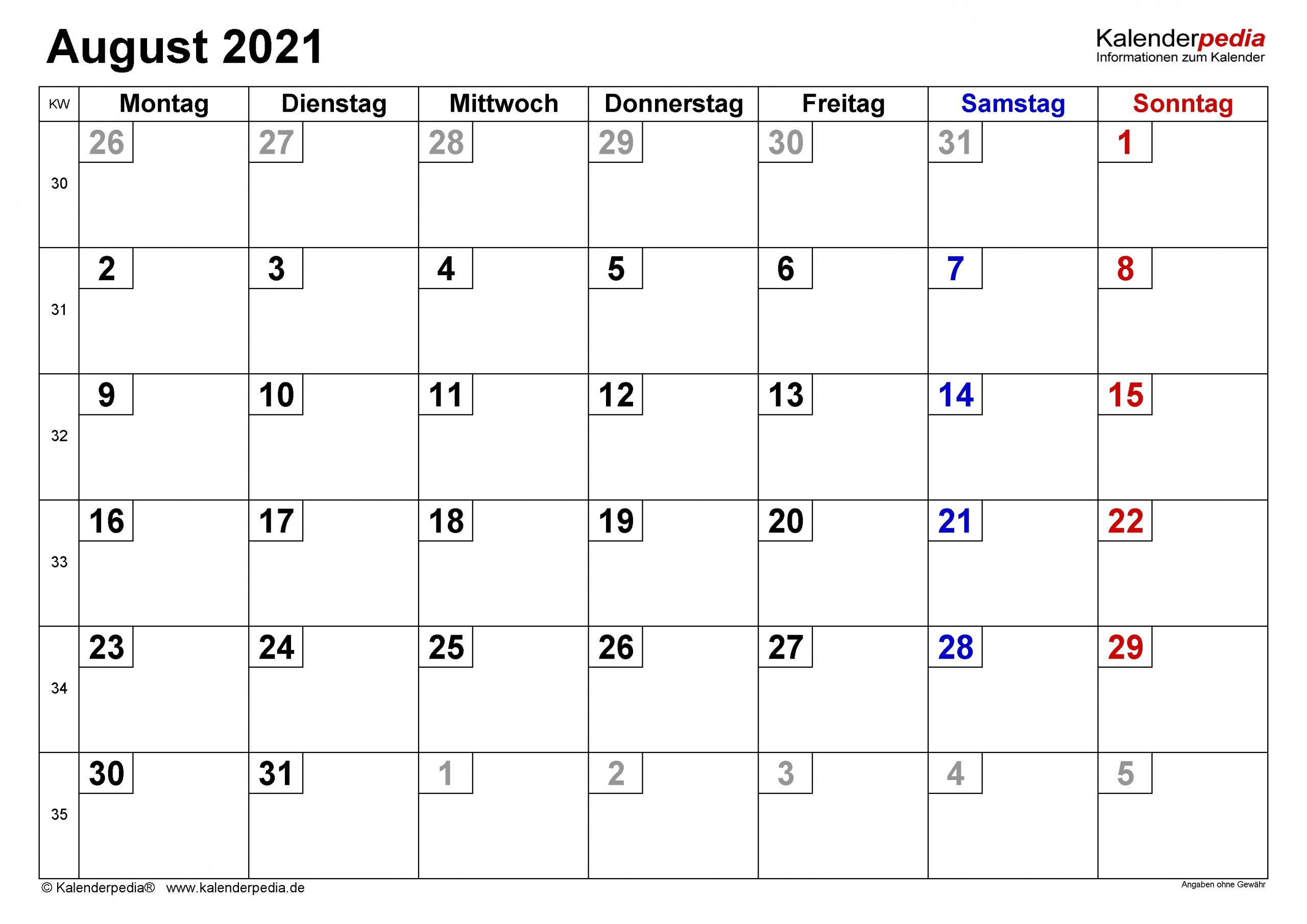 Get Monatsplaner 2021 August