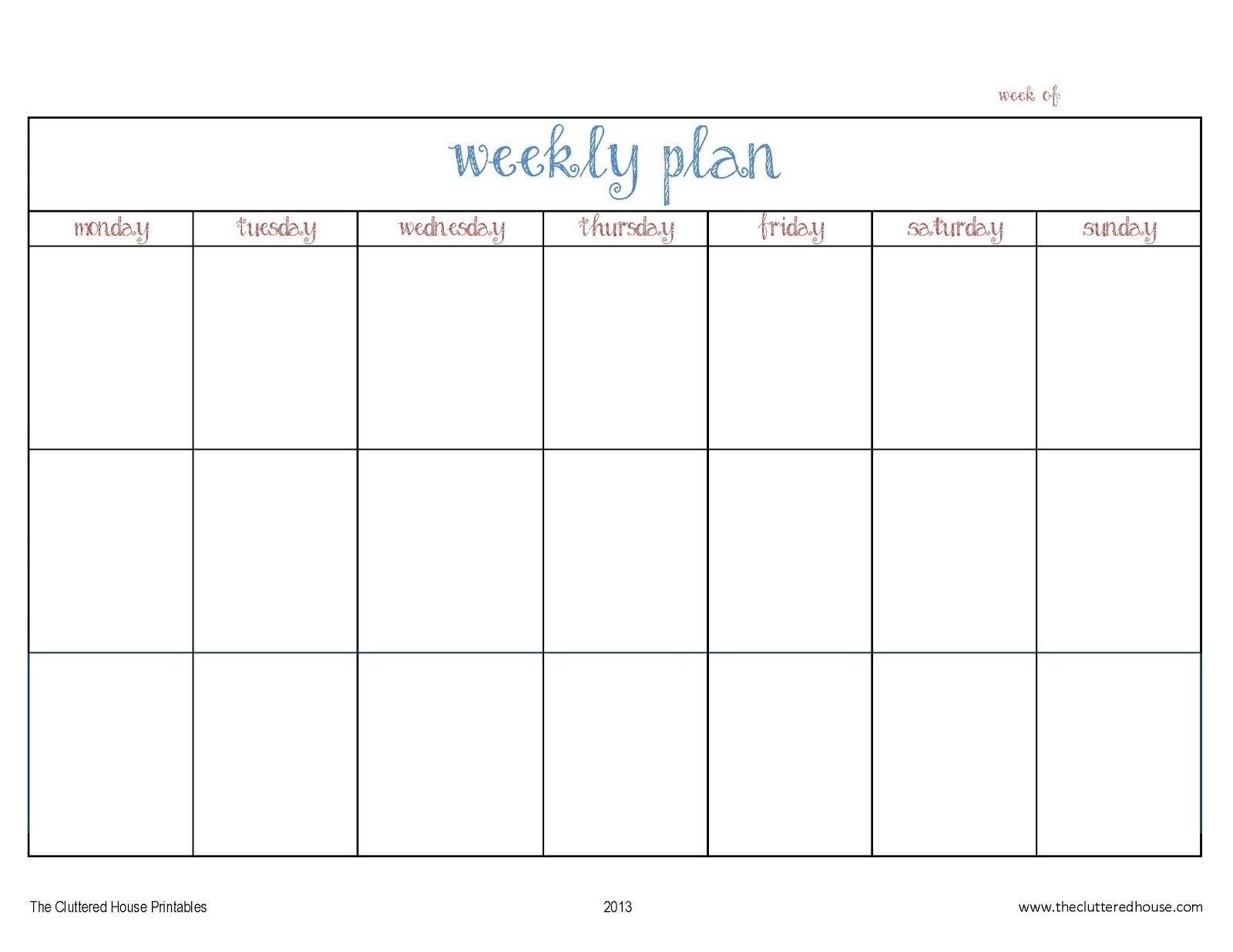 Get Monday Through Friday Blank Schedule