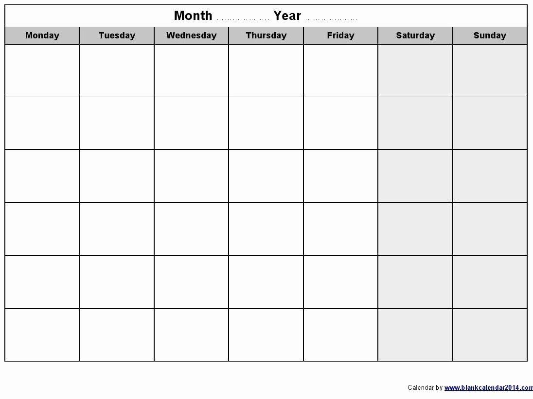 Get Monday Through Friday Monthly Calendar