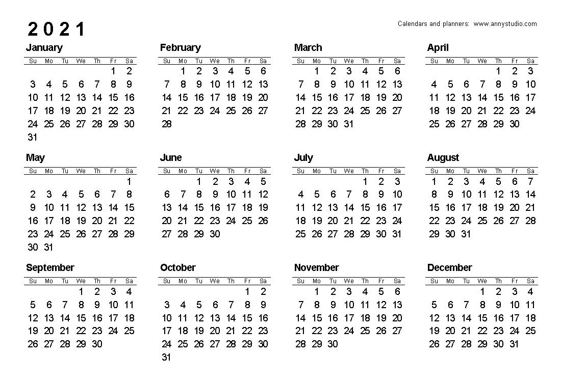 Get Monday To Sunday 2021 Calendar