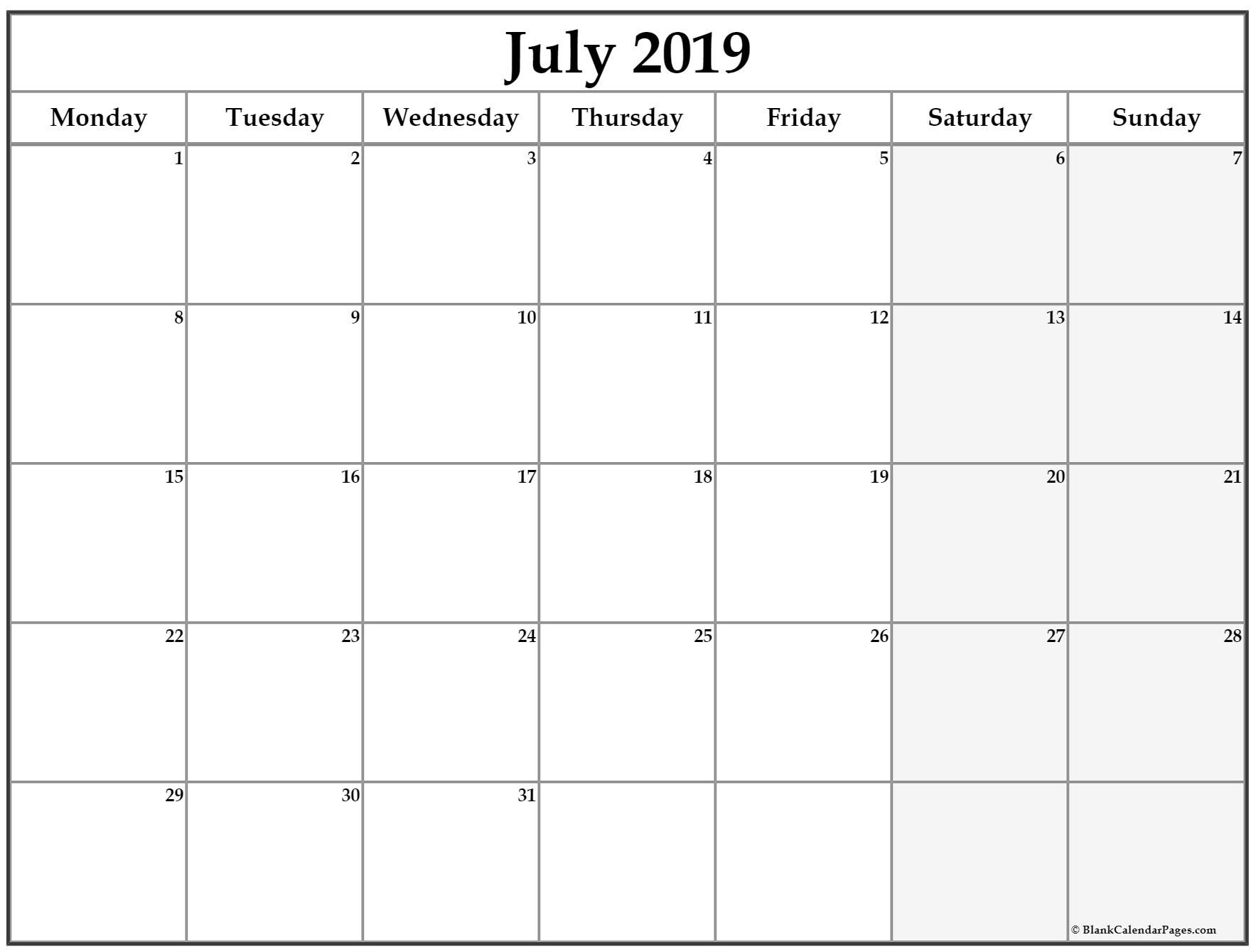Get Monday To Sunday Calendar