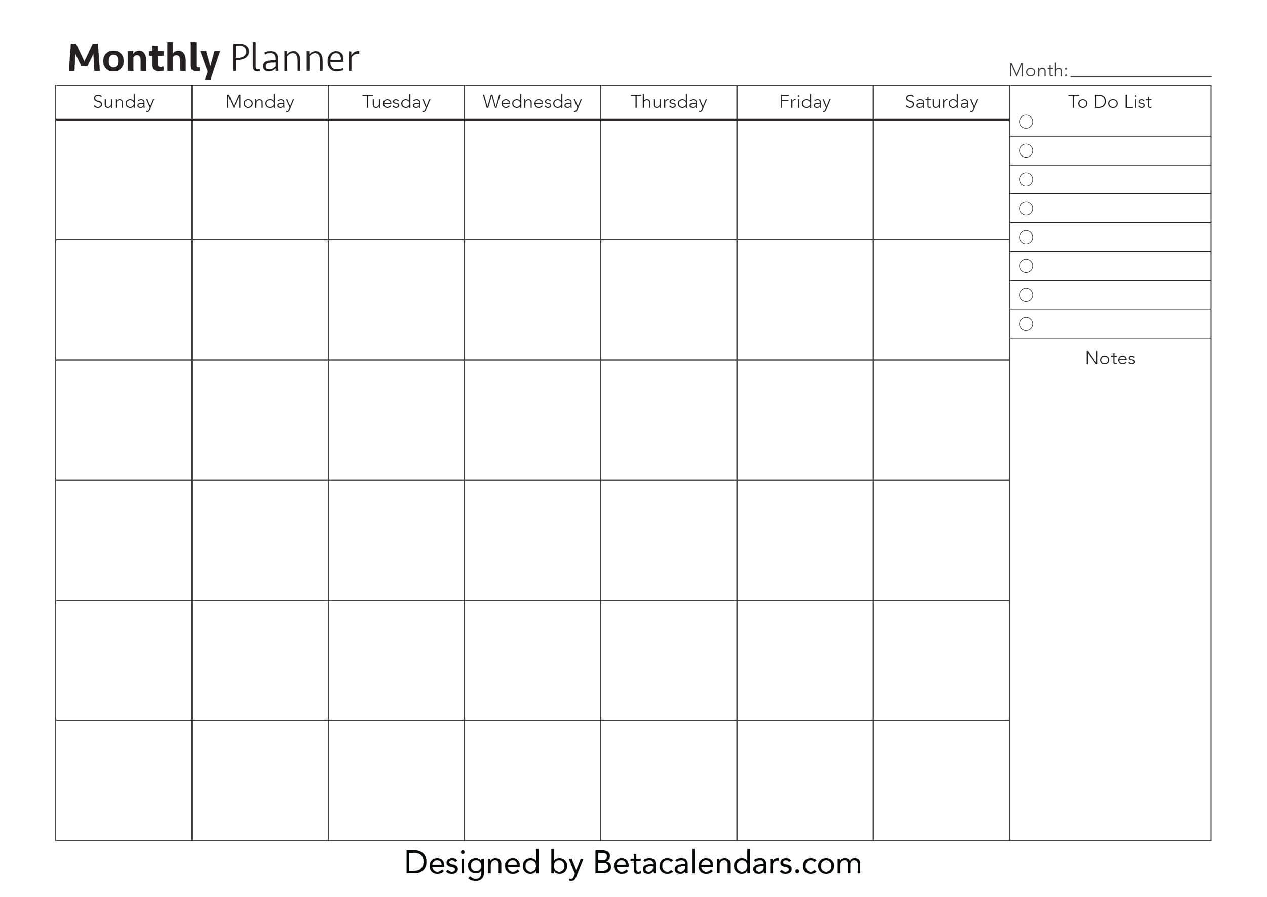 Get Month At A Glance Printable