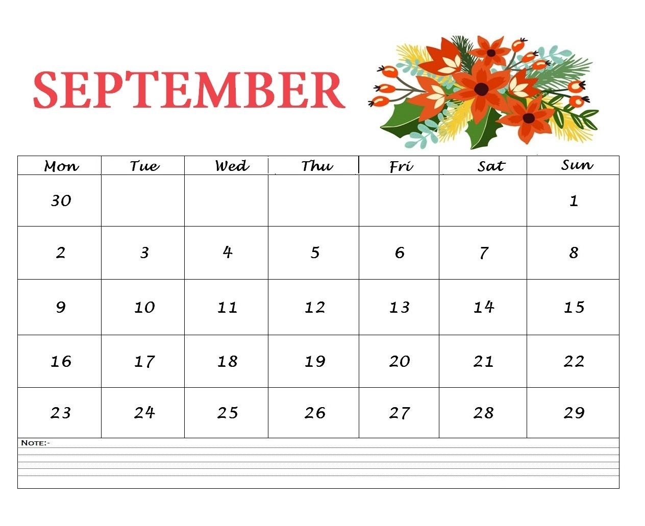 Get  Month Wall Calendar Sept.  Dec