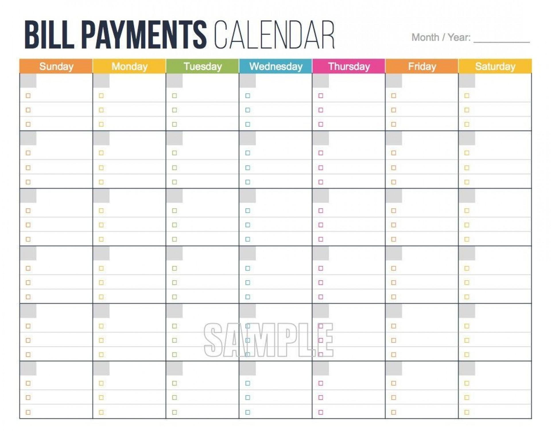 Get Monthly Bill Calendar Template
