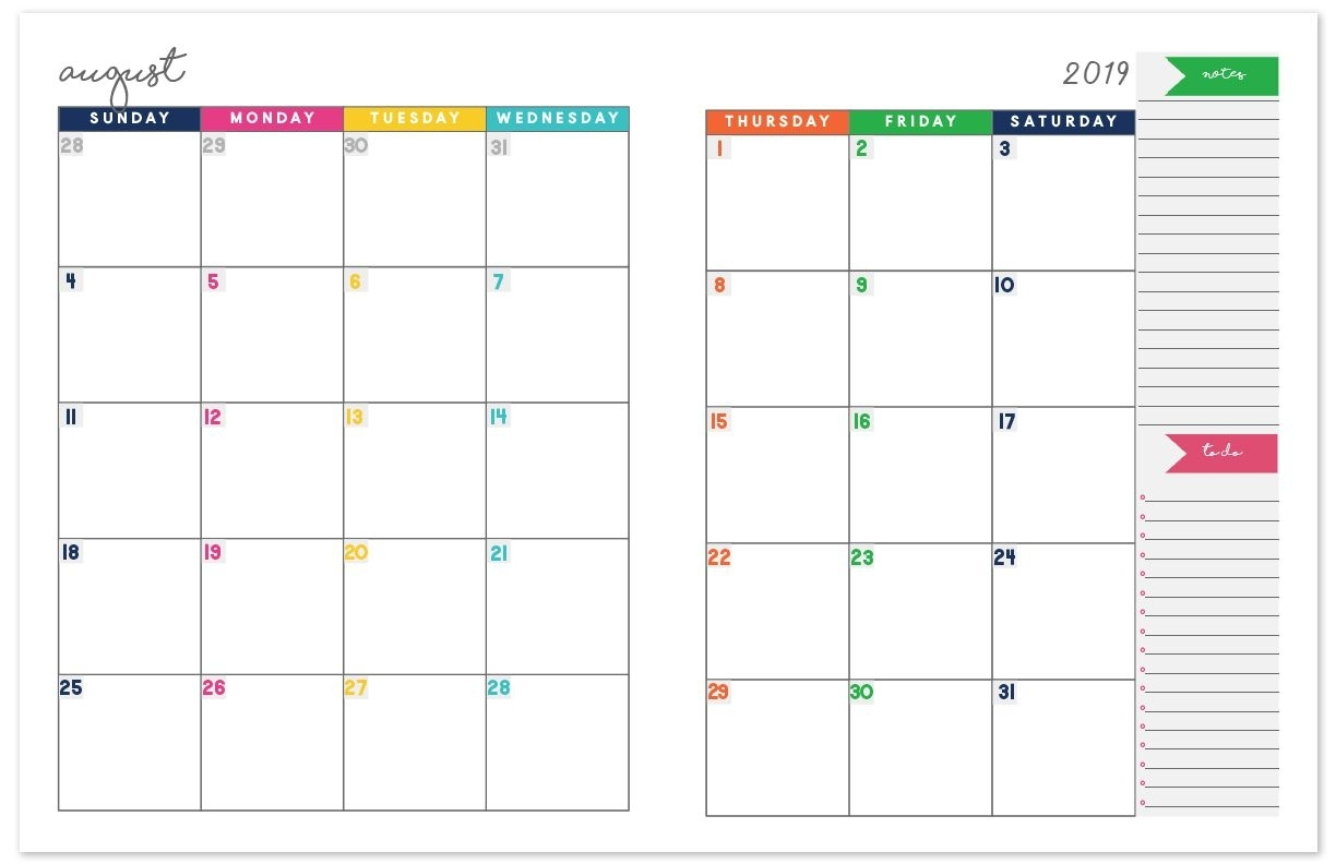 Get Monthly Calendar With Writing Space Printable 2021