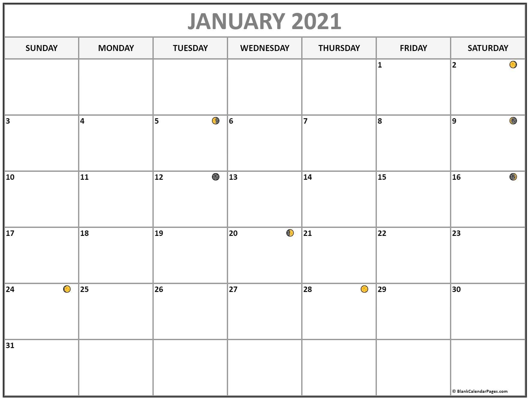 Get Moon Phase Calendar 2021 Printable