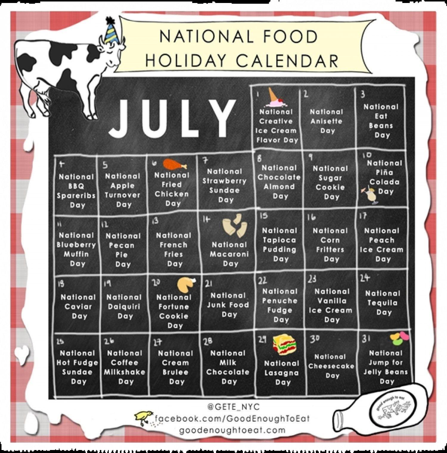 Get National Food Day Calendar Printable