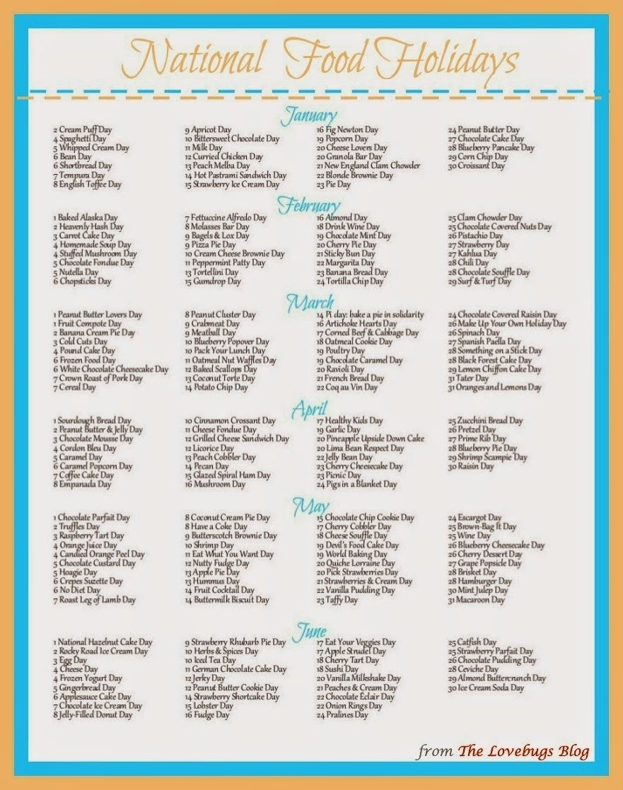 Get National Food Day Calendar Printable