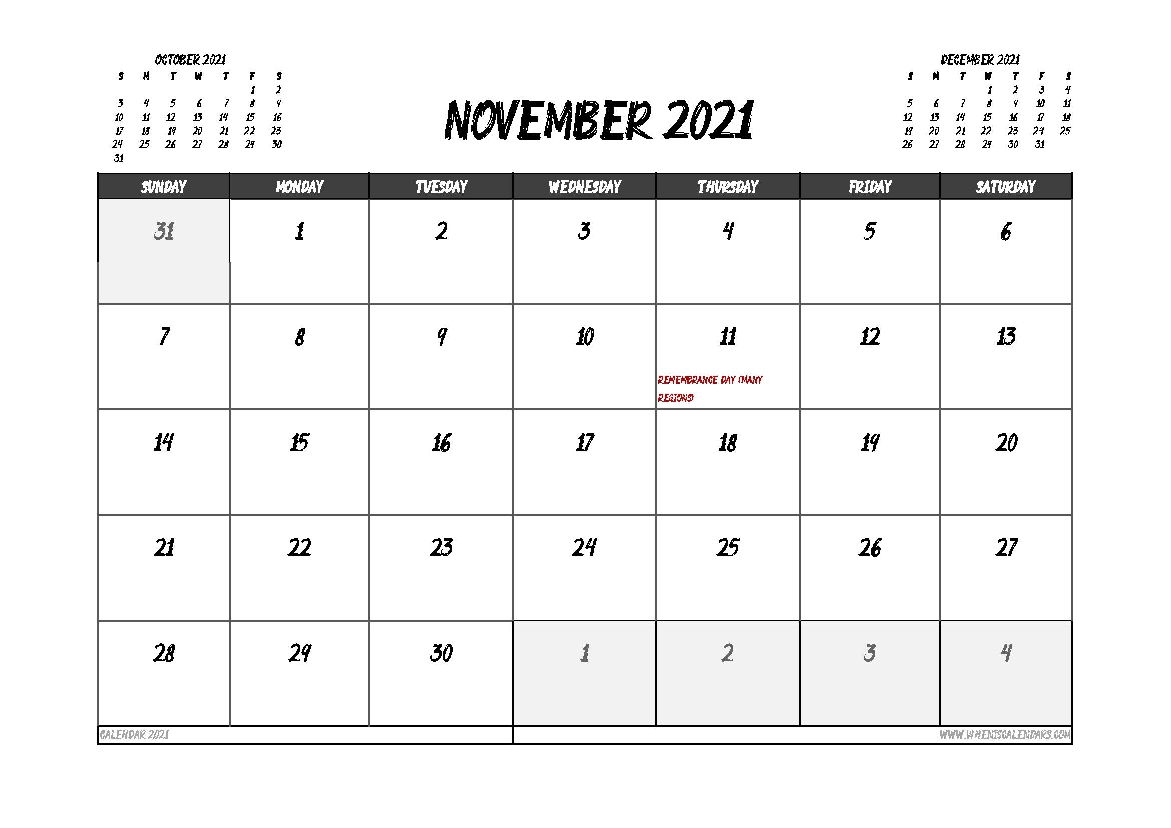 Get November 2021 Calendar 8.5X11