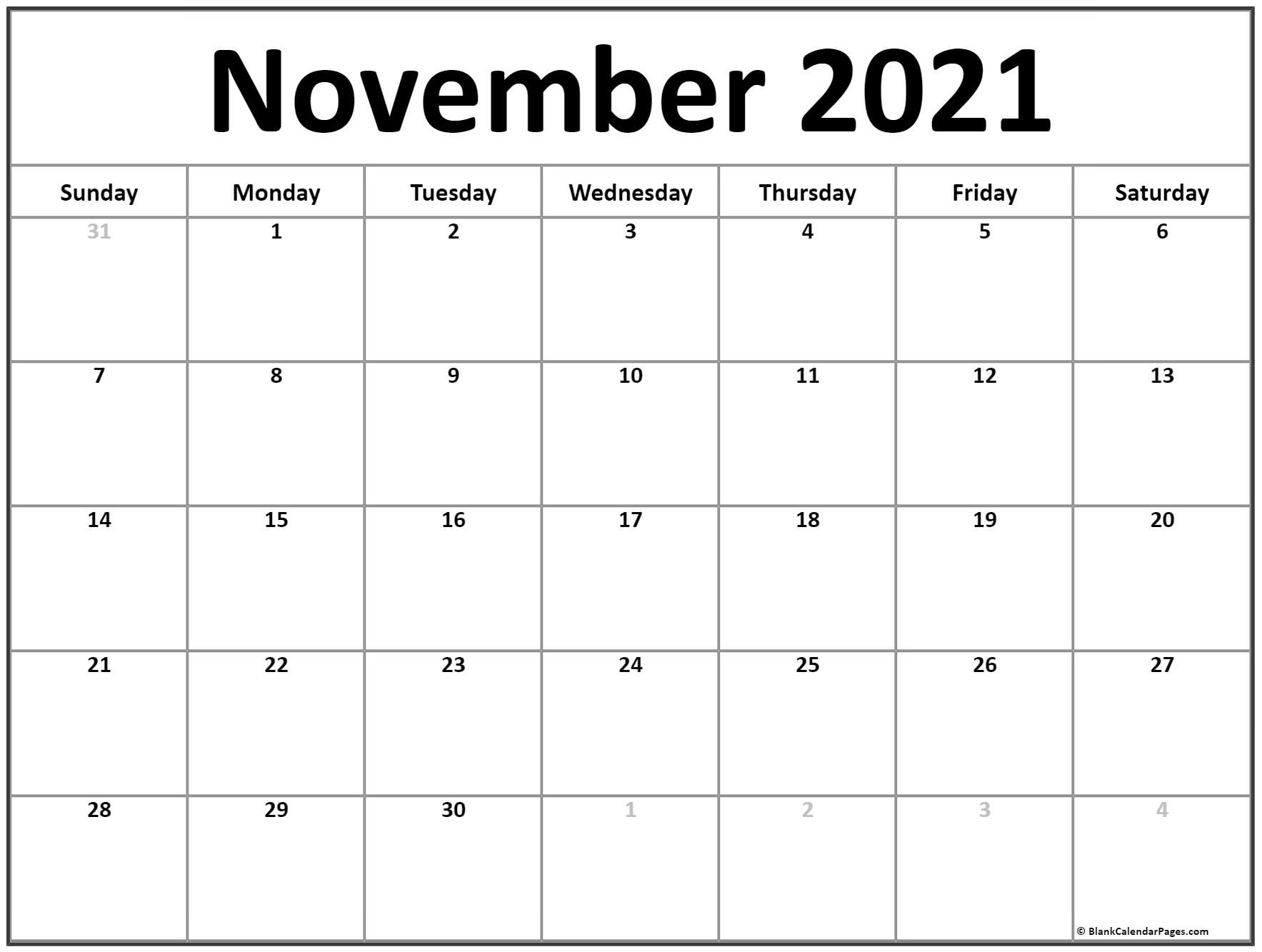 Get November 2021 Printable Calendar Sheet