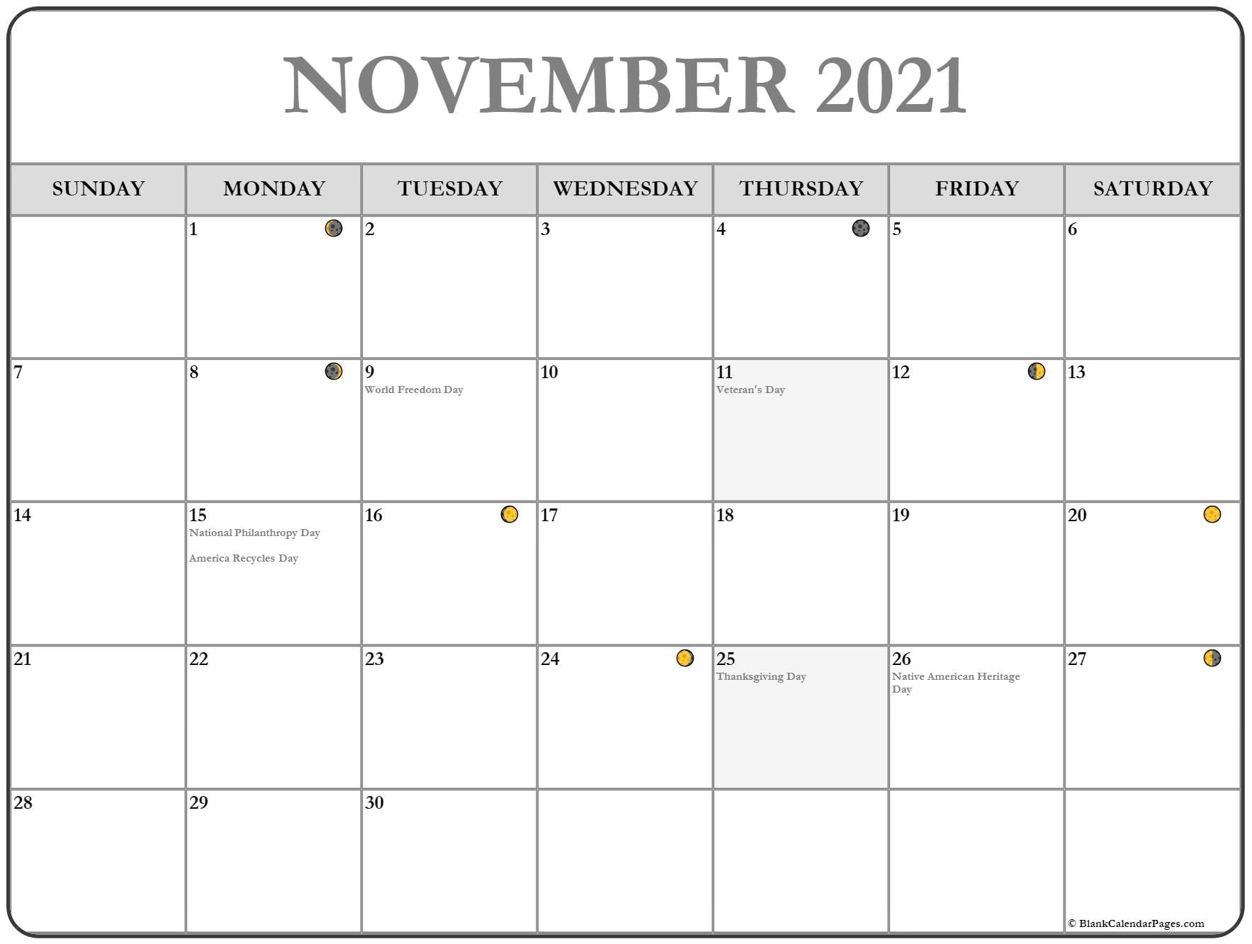Get November 2021 With Moons