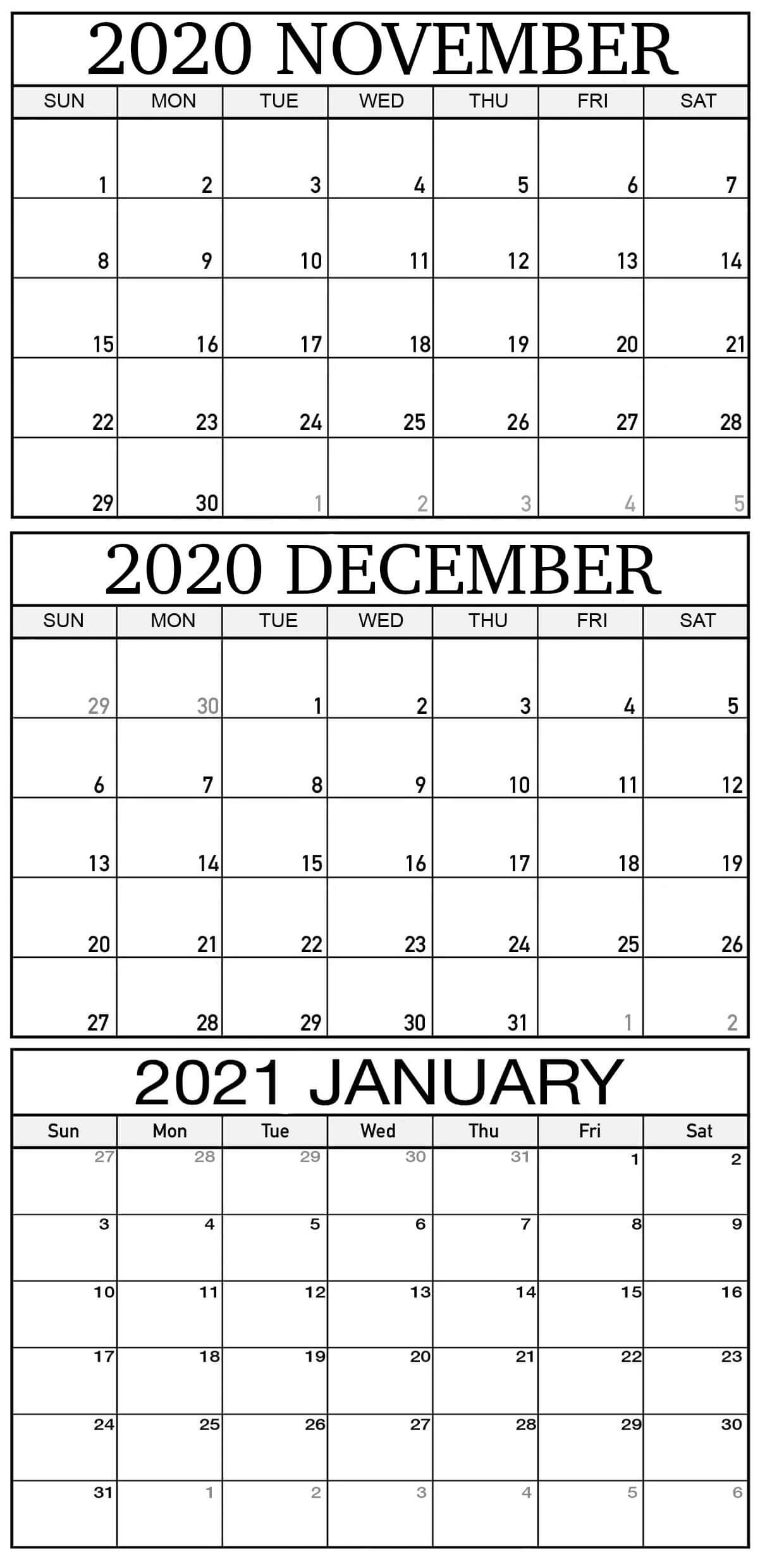 Get November December Calendar 2021