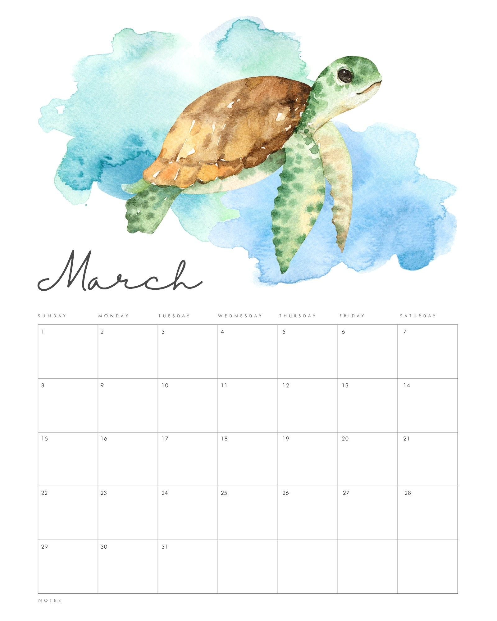 Get Ocean Themed Printable Calendar