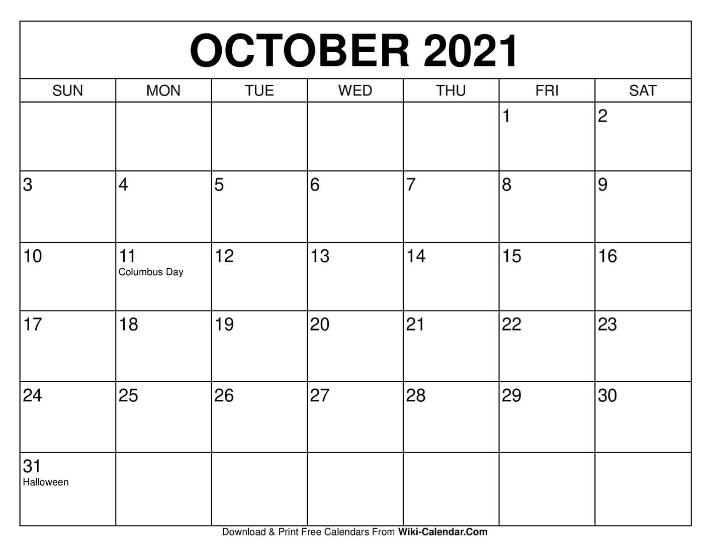 Get October 2021 Calendar Printable Free