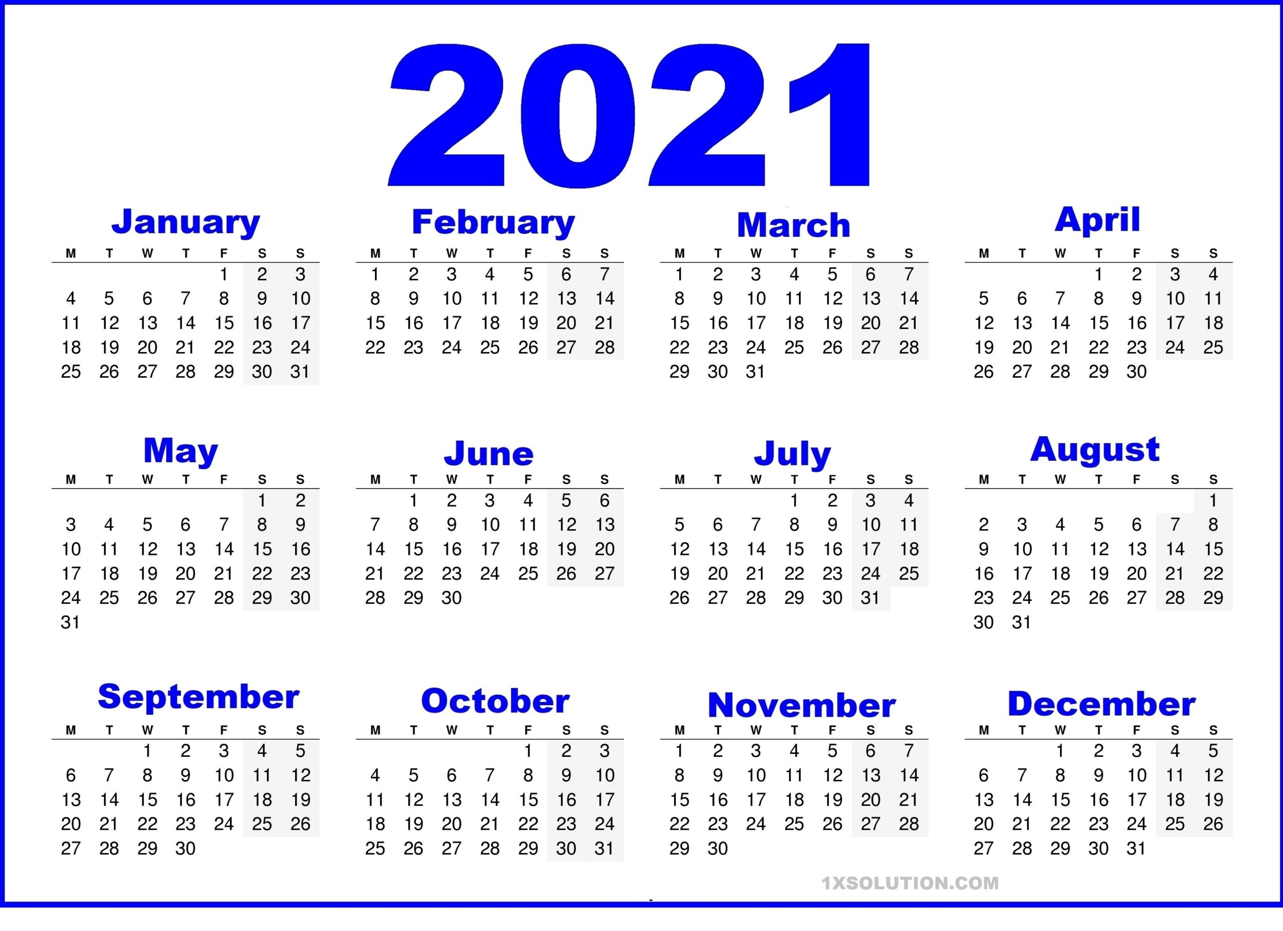 Get October 2021 Calendar With Writing Space
