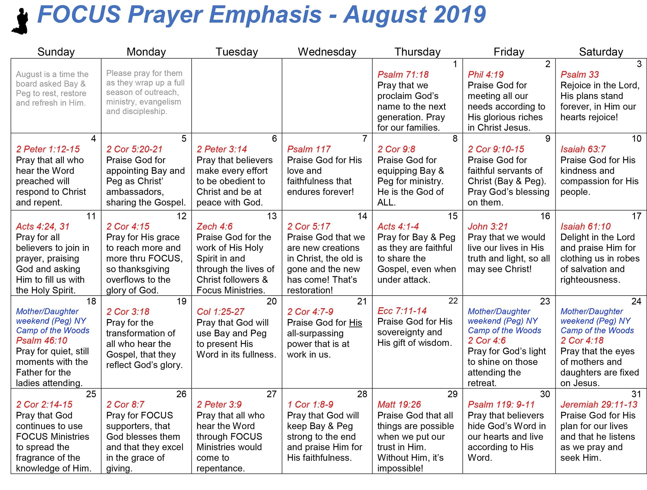 Get Prayer Calendar For August
