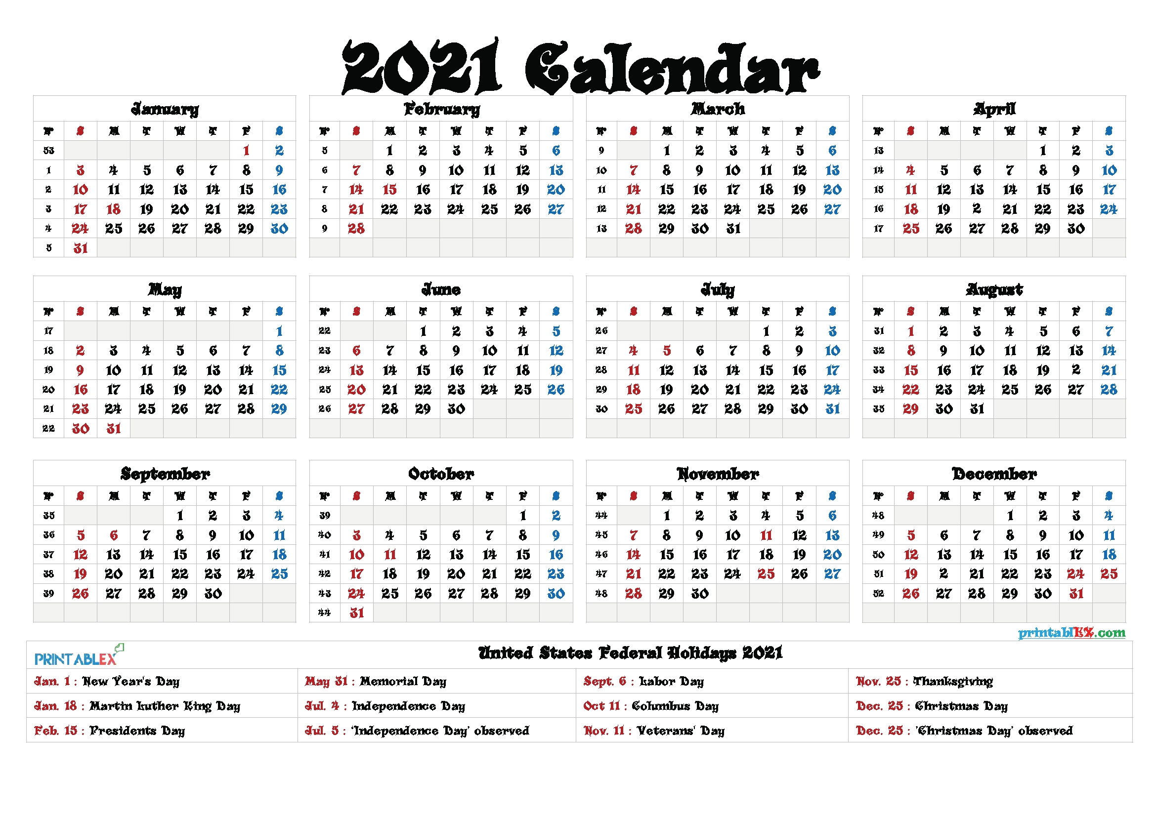 Get Print Yearly Calendar 2021 With Holidays