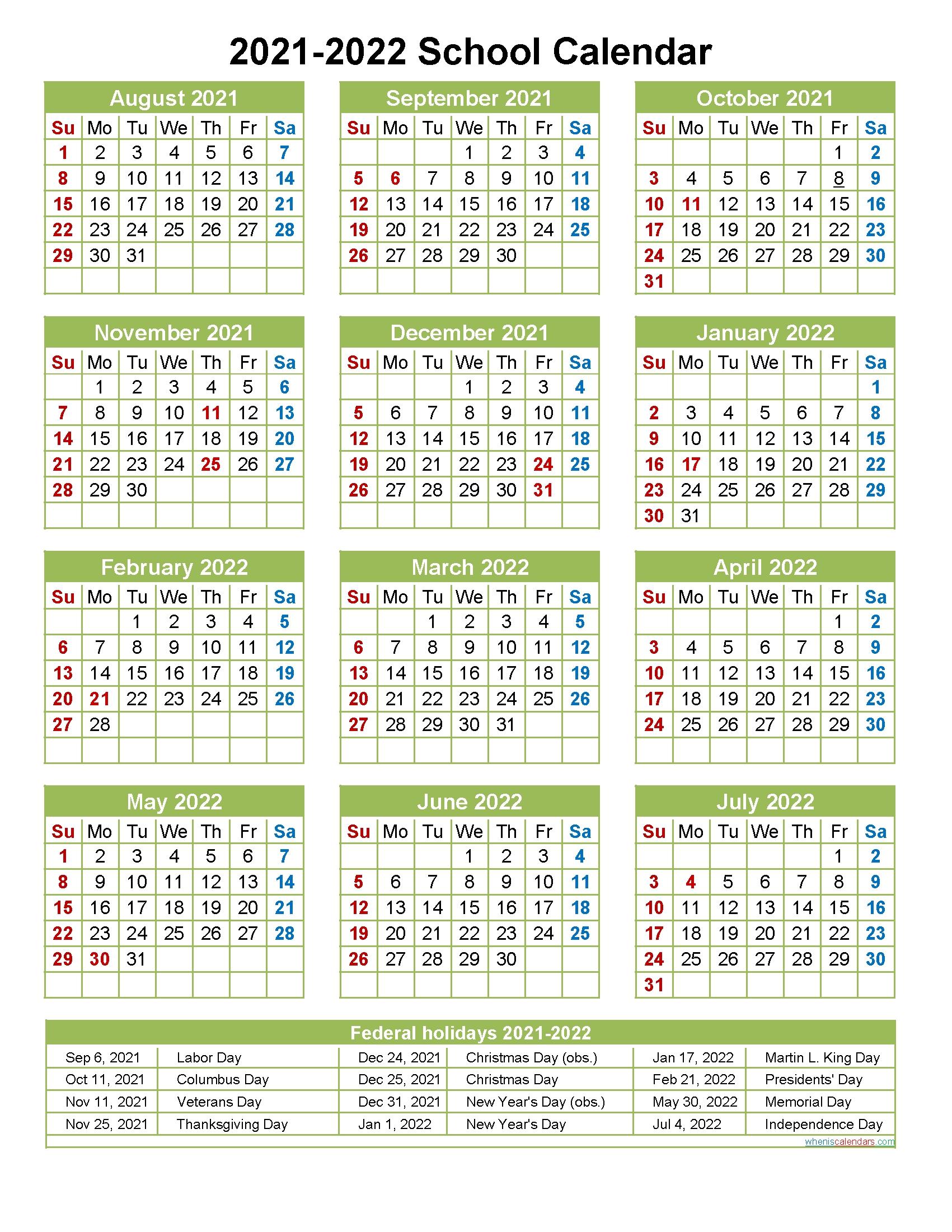 Get Printable 2021 2022 School Calendar