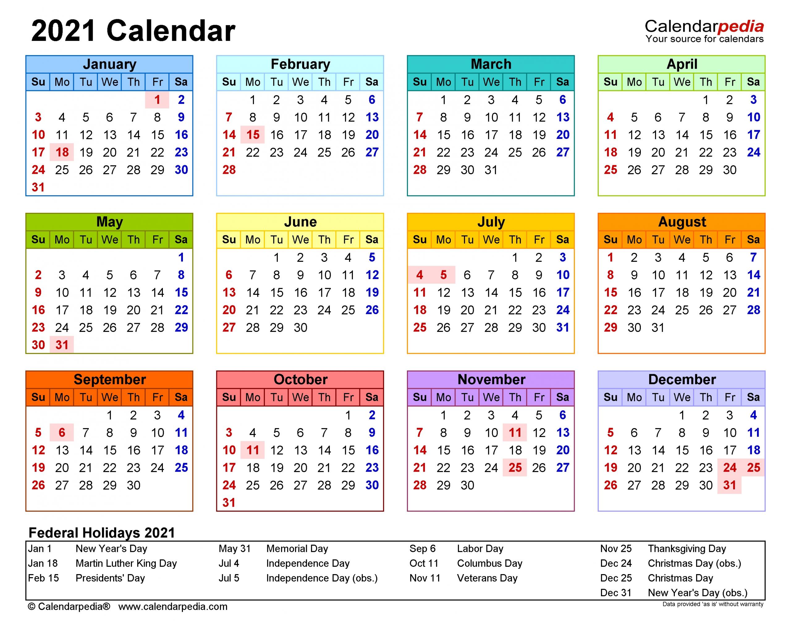 Get Printable 2021 Calendar Landscape