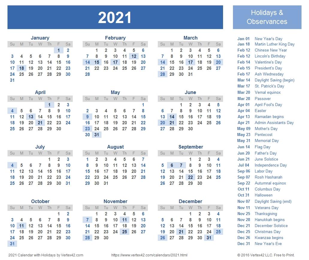 Get Printable 2021 Calendar