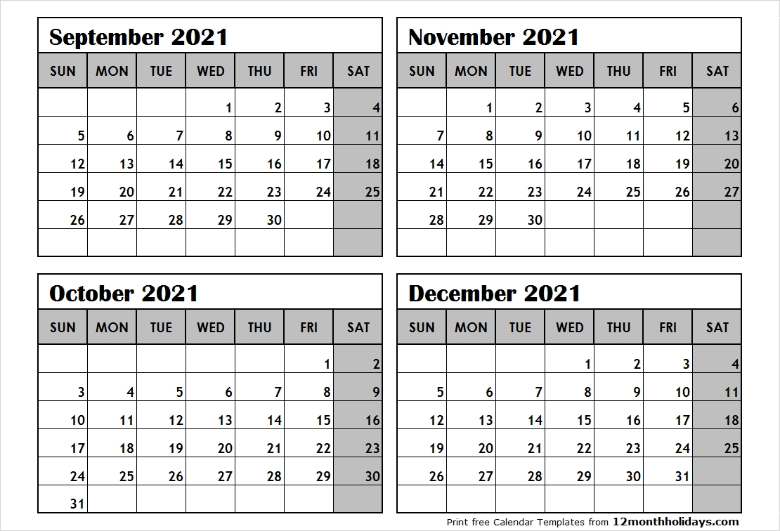 Get Printable 4 Month Calendar Sept 2021