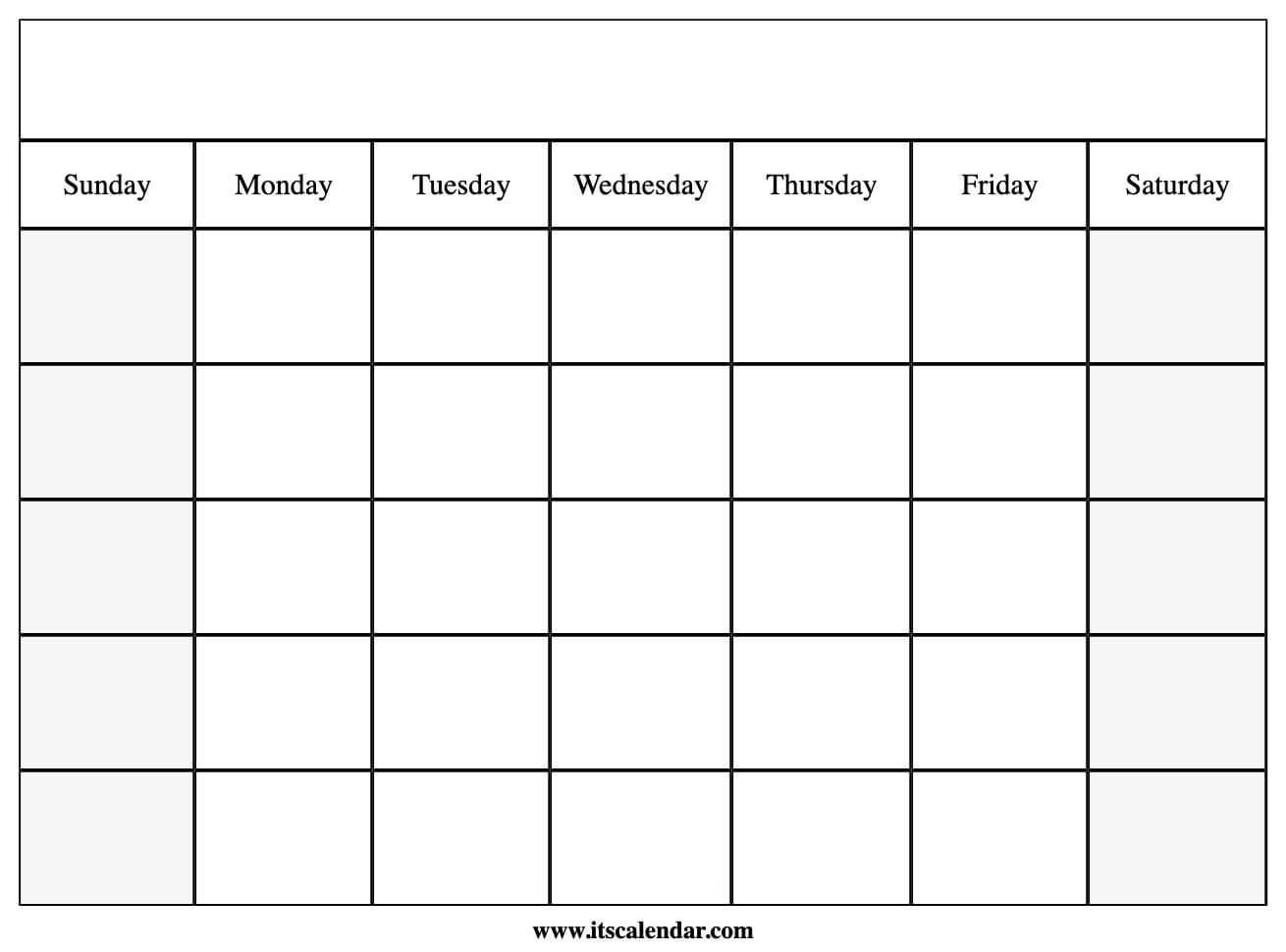 Get Printable Blank Calendar Template
