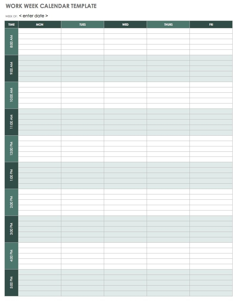 Get Printable Blank Work Week Calendar